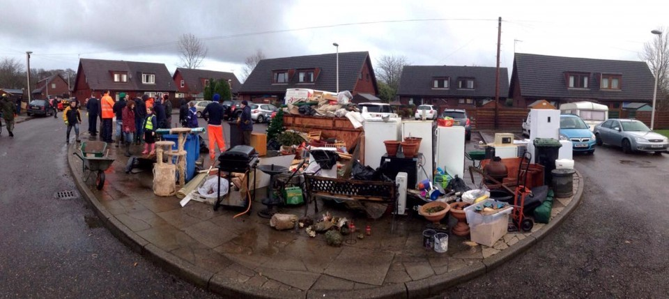 Some of the damp possessions rugby players helped to remove from flood-hit homes.
