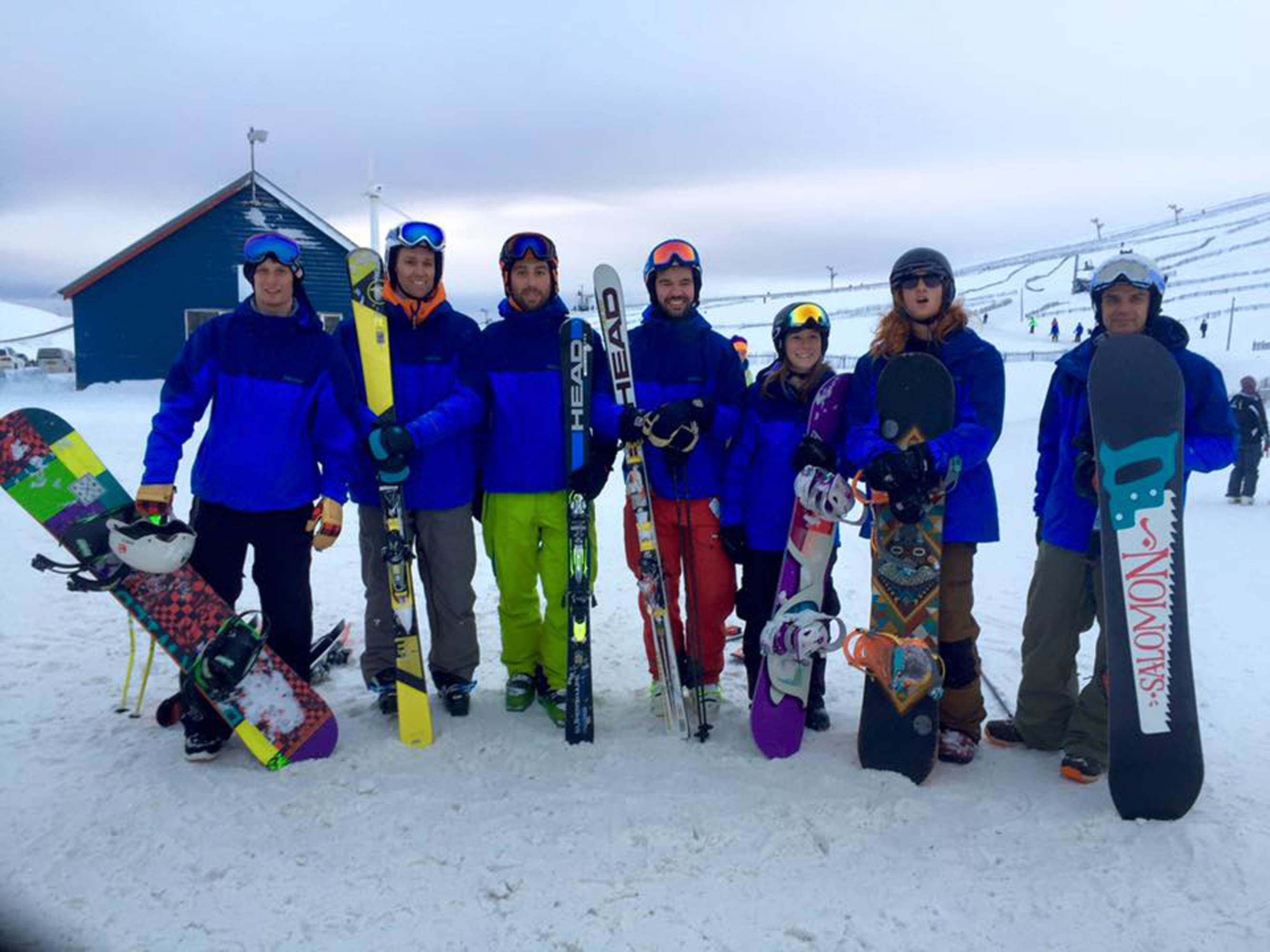 Members of Aberdeen Snowsports Club at the Lecht, from left, Adam Senior, Martin Ritchie, Jiacomo Zecca, Josef Tautscher, Jen Hibbert, Stuart Innes and Neil Cameron.