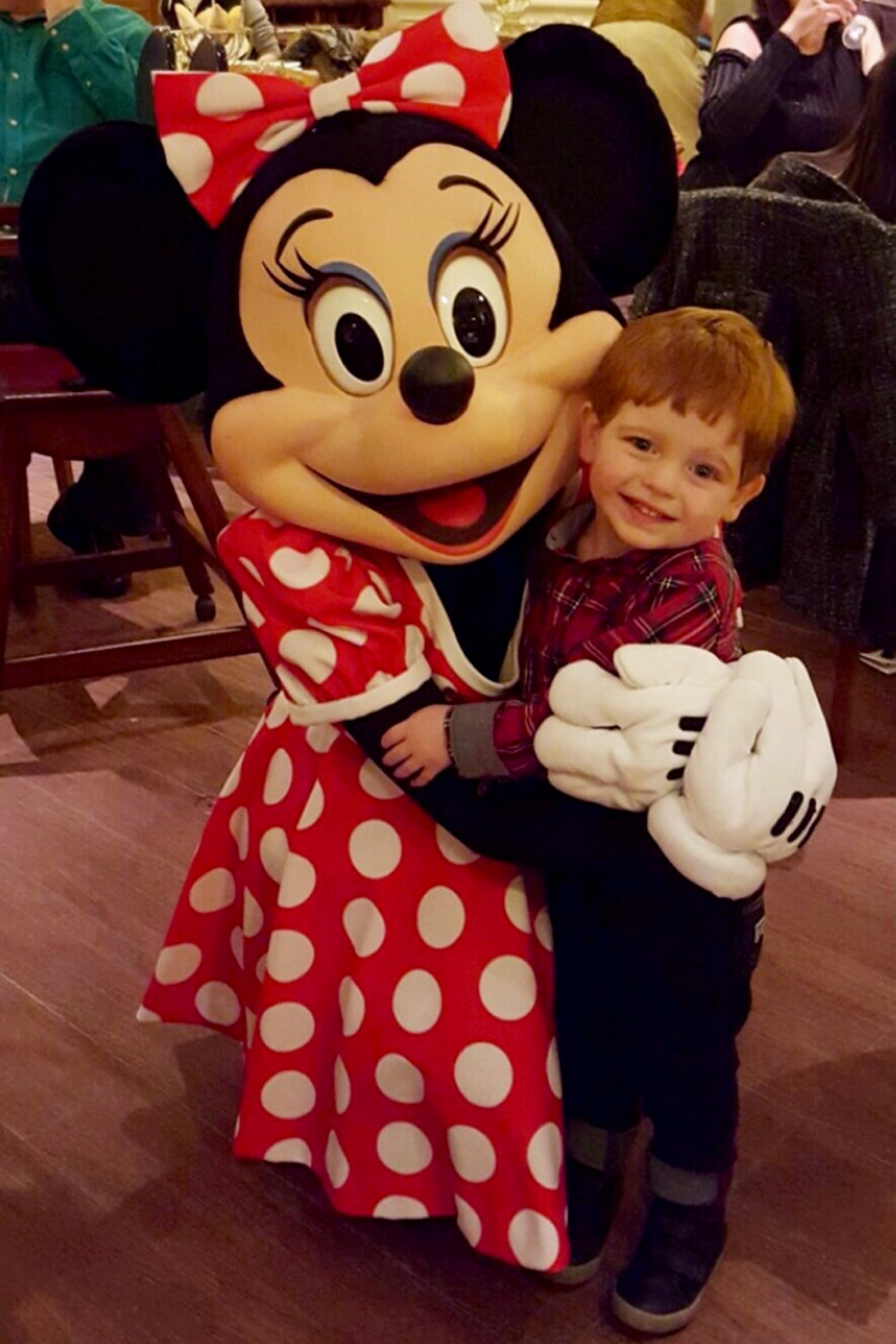 Paula's son William with Minnie Mouse.
