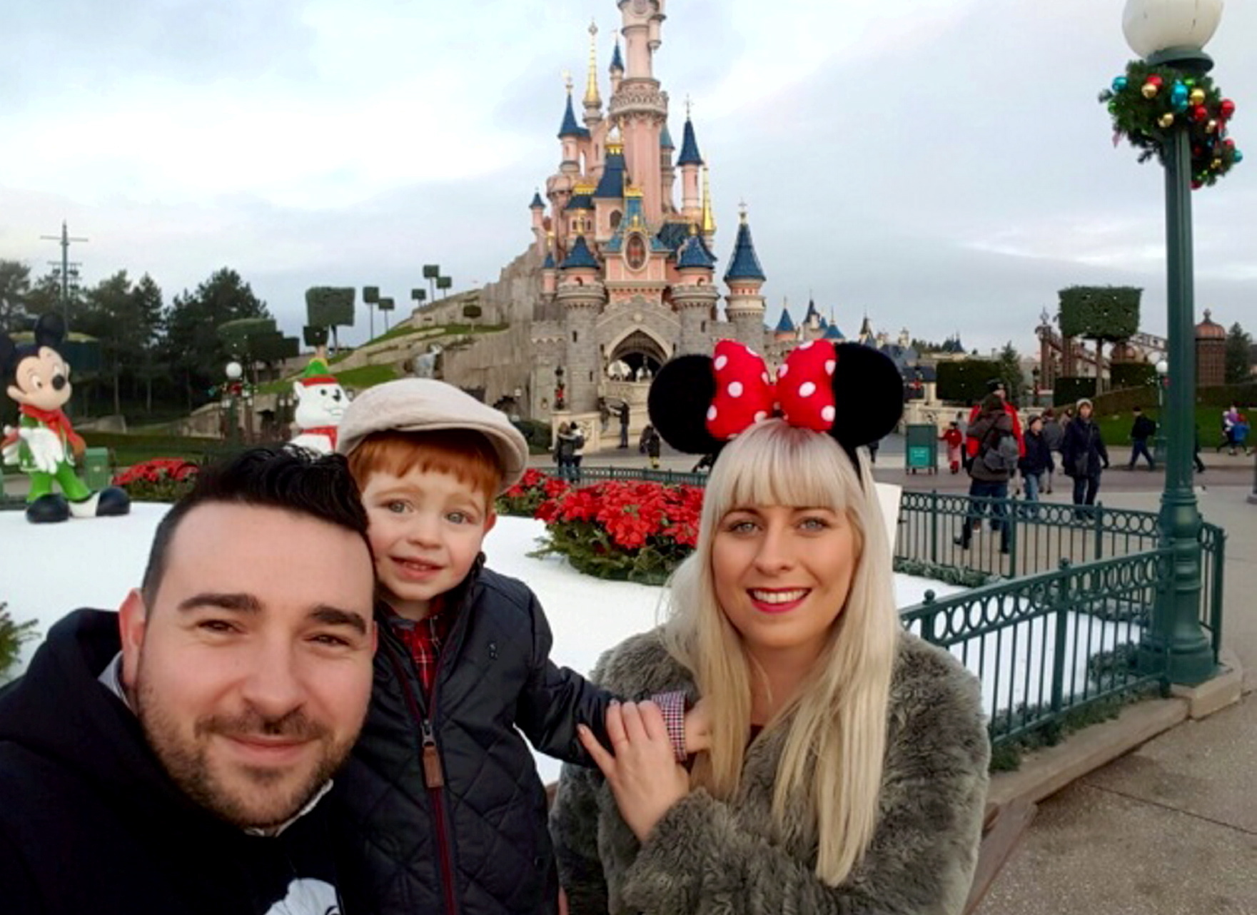 Paula with husband William and their son, also  William, at Disneyland Paris.