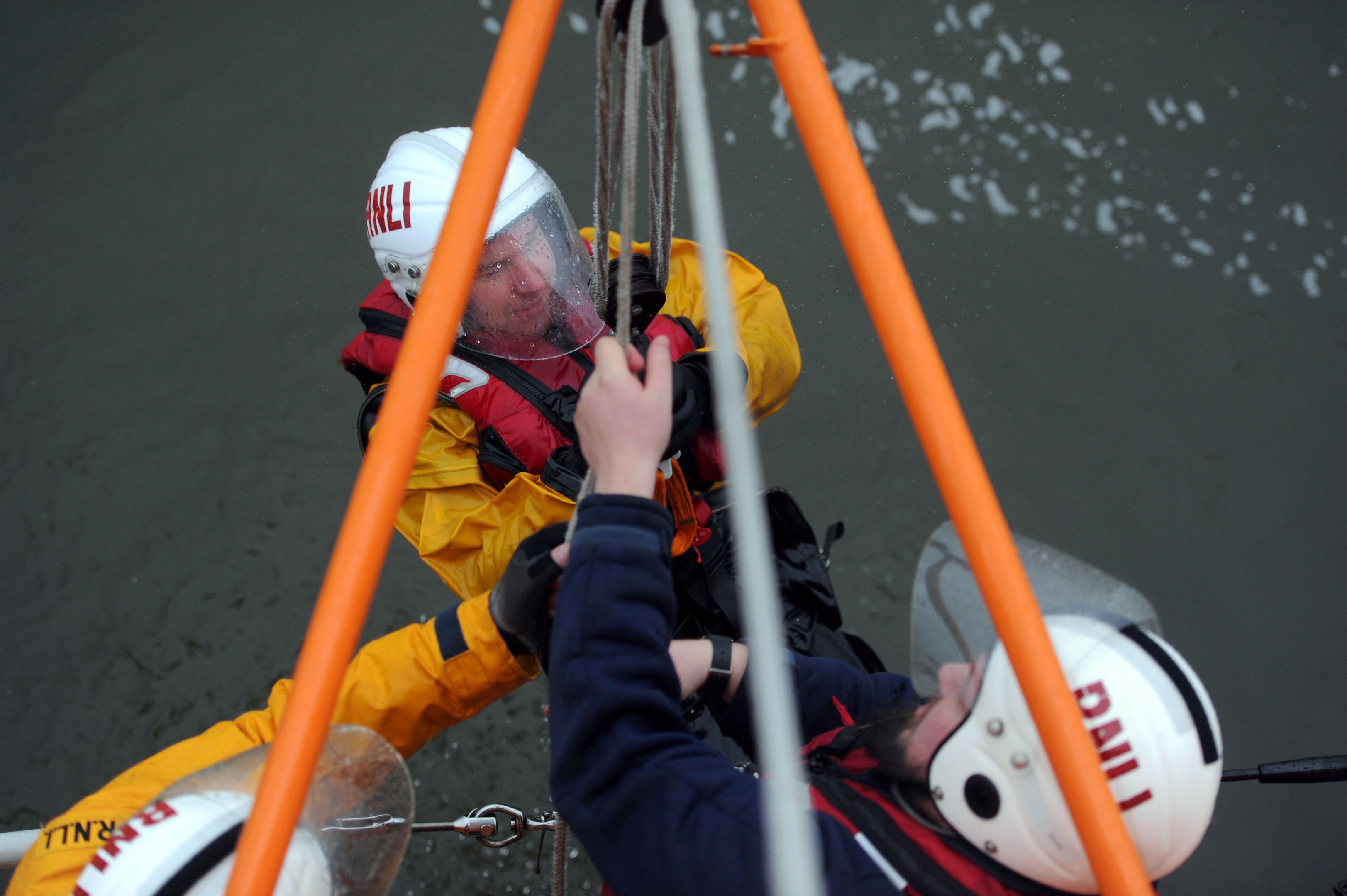 RNLI volunteer Bruce Finnie taking part in a demonstration. Picture by Darrell Benns