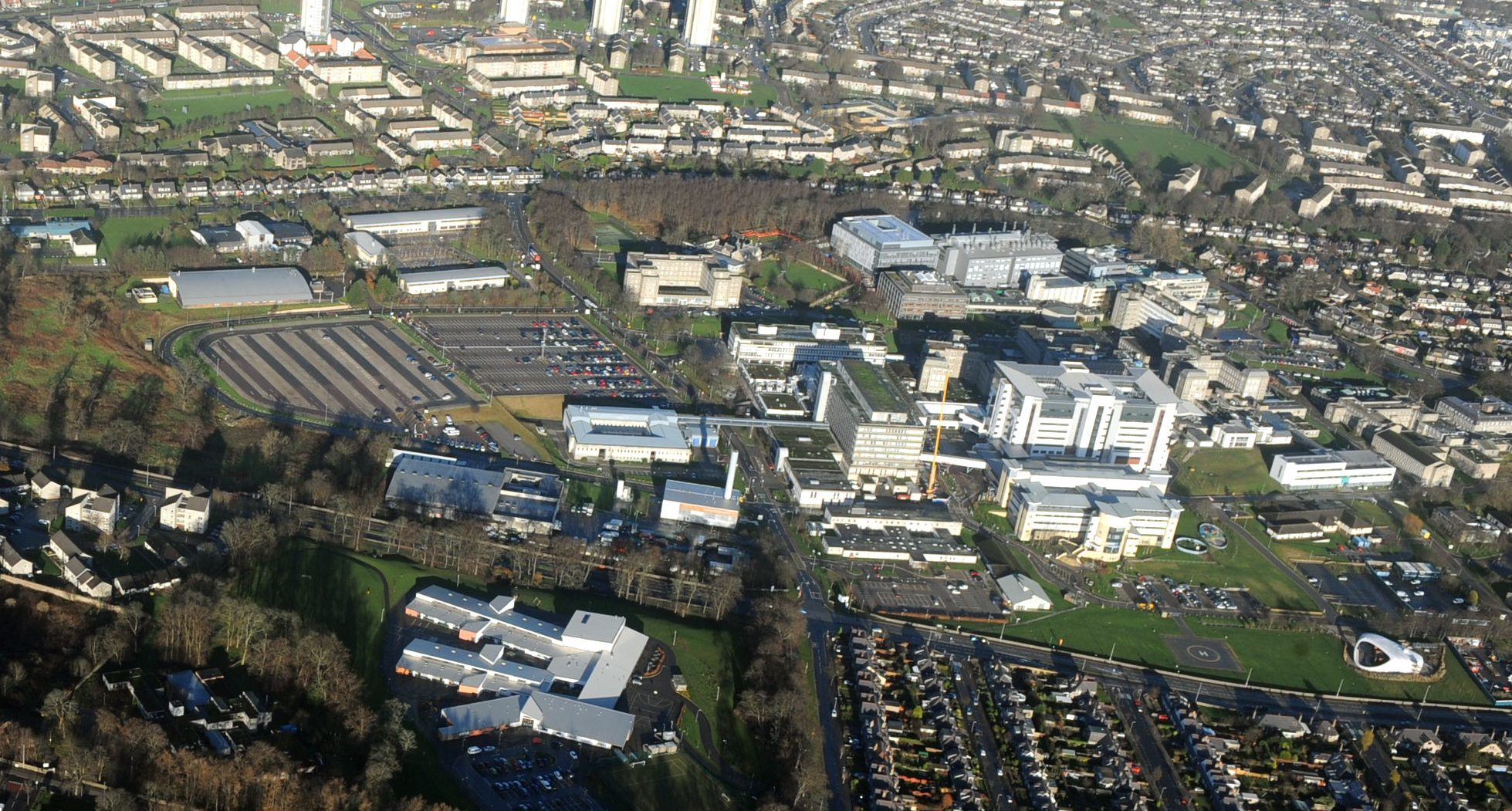An aerial view of NHS Grampian's Forresterhill Campus.