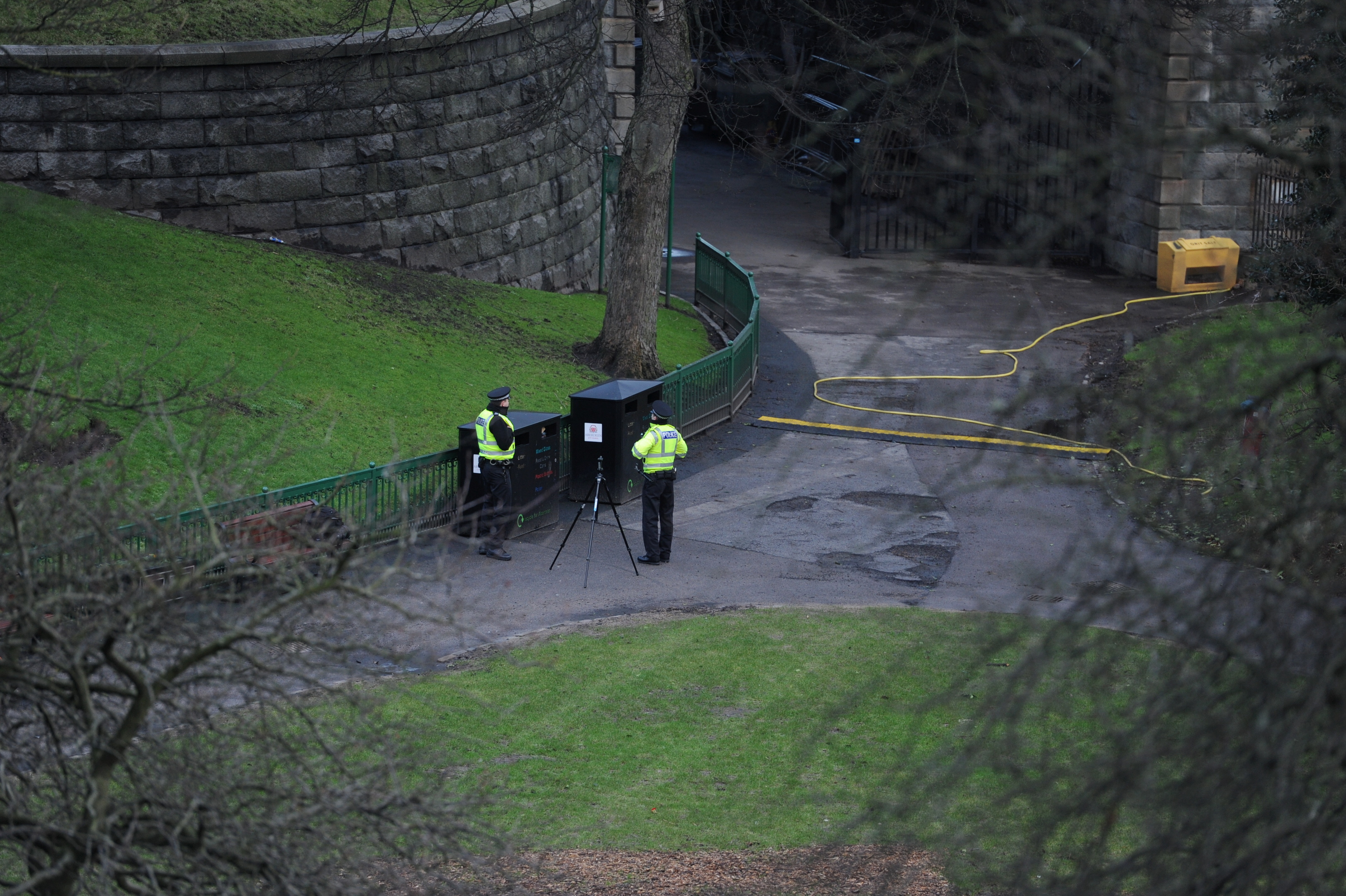 The city centre park was taped off for examinations to be carried out.