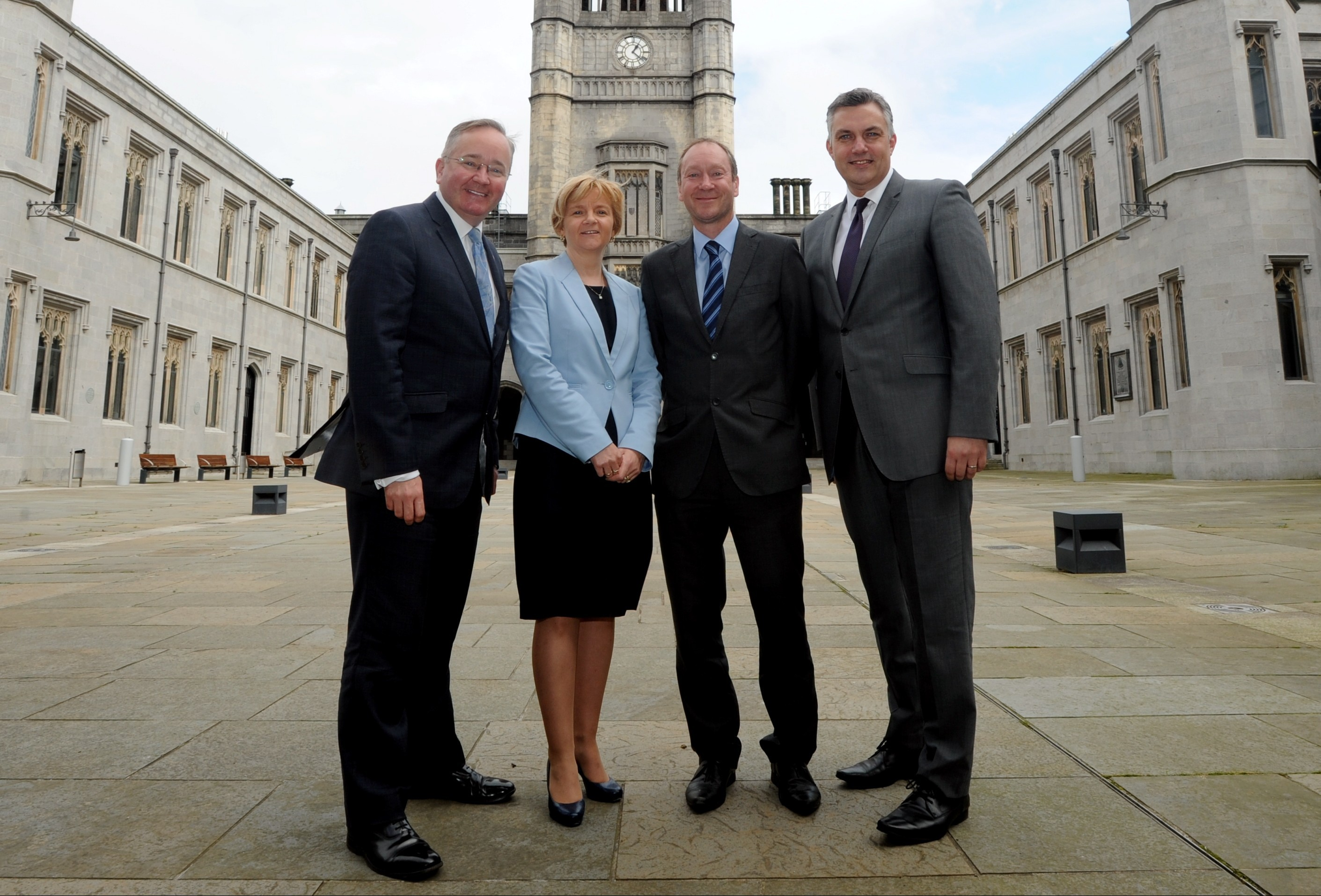 From left, Gordon Matheson, former leader of Glasgow City Council, Jenny Laing, leader of Aberdeen City Council, Jackie Burns, deputy leader of South Lanarkshire Council, and Mark Macmillan, leader of Renfrewshire Council.
