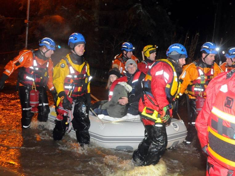 Picture from the rescue of the residents of Meadow Road, Ellon due to flooding