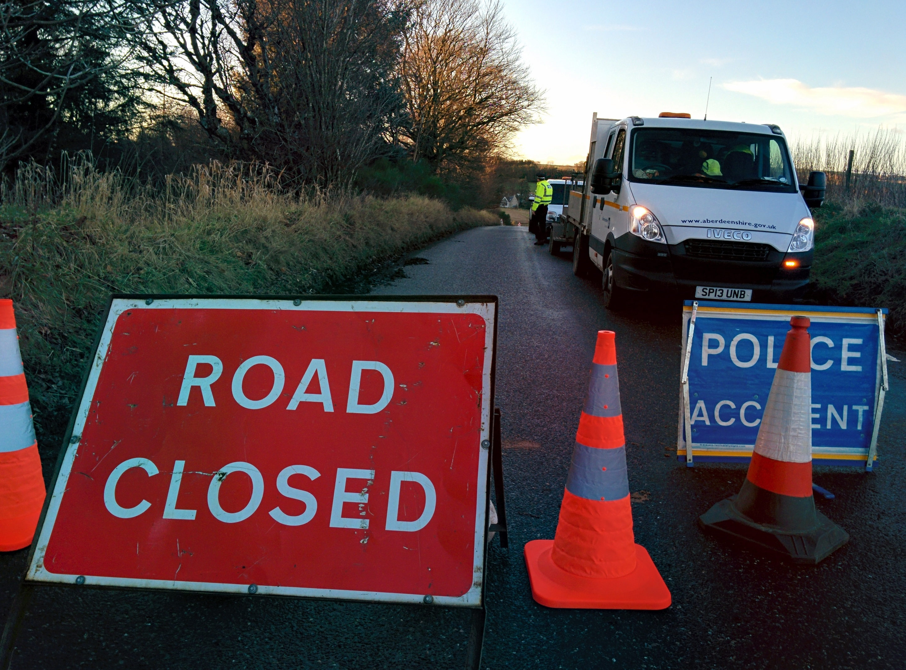The road is closed following the incident