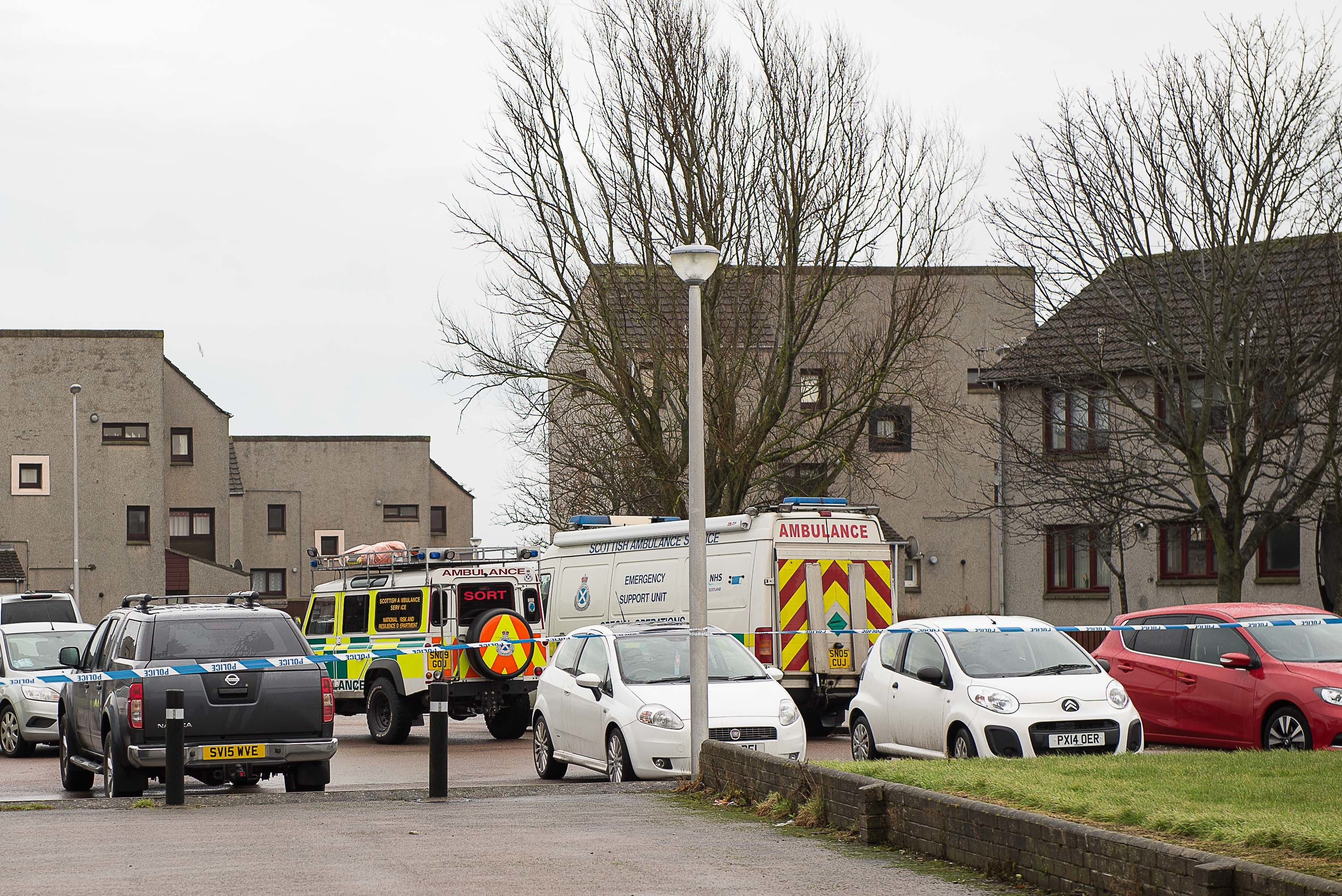 Police at the scene on Meetmill Place, Peterhead. Picture by Jay Buchan, Owlberry Photography.