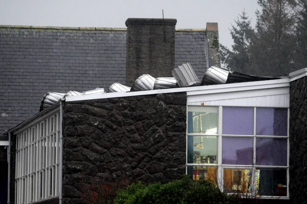 Part of the roof at Glenbervie Primary School in Drumlithie as been damaged by the weather.