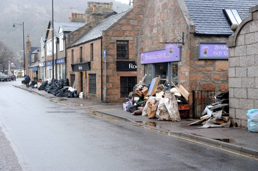 Ballater's streets are pictured after the floods which badly affected the town.