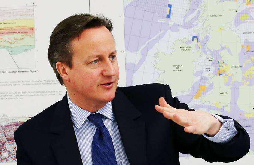 Prime Minister David Cameron during a meeting at the Oil and Gas Authority in Aberdeen