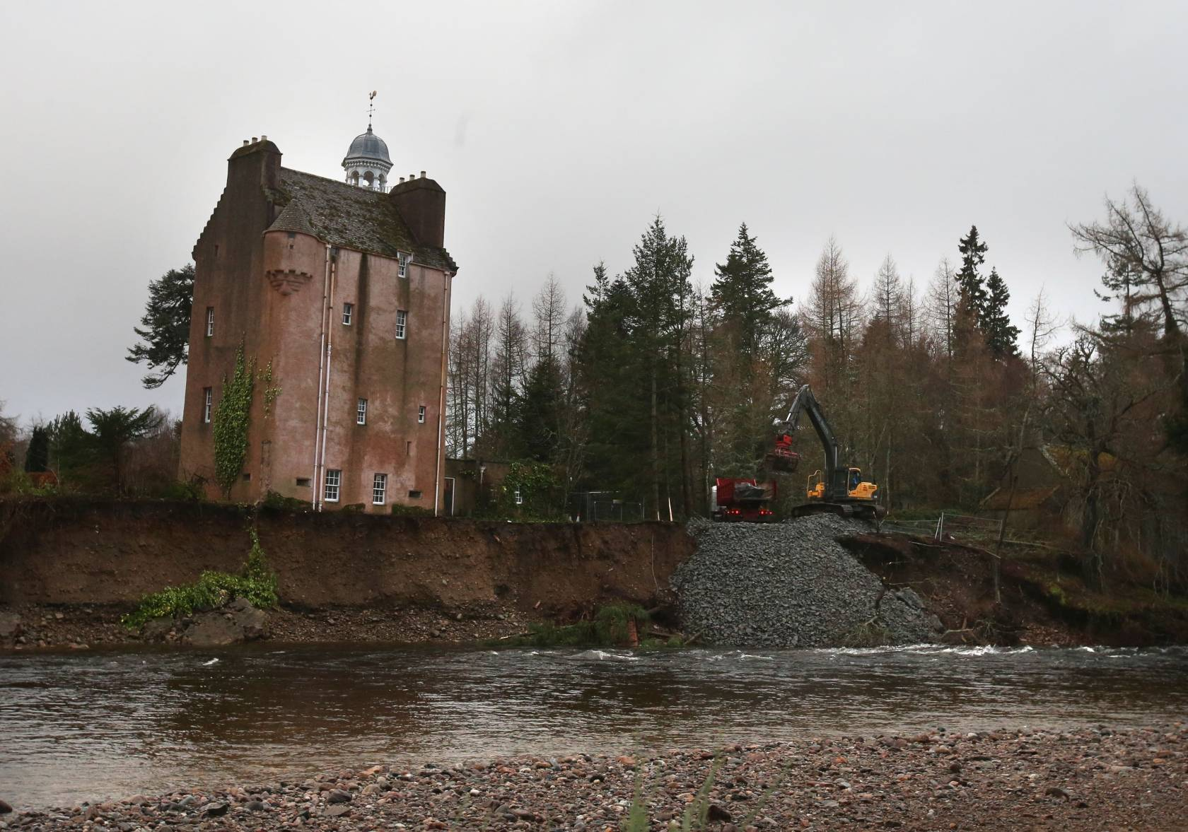 Rocks and boulders are moved to protect the shoreline around Abergeldie Castle