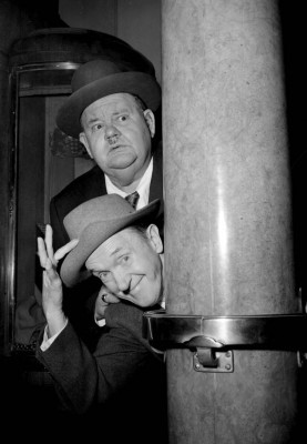 Laurel and Hardy aboard the ship 'The Queen Mary' at Southampton.