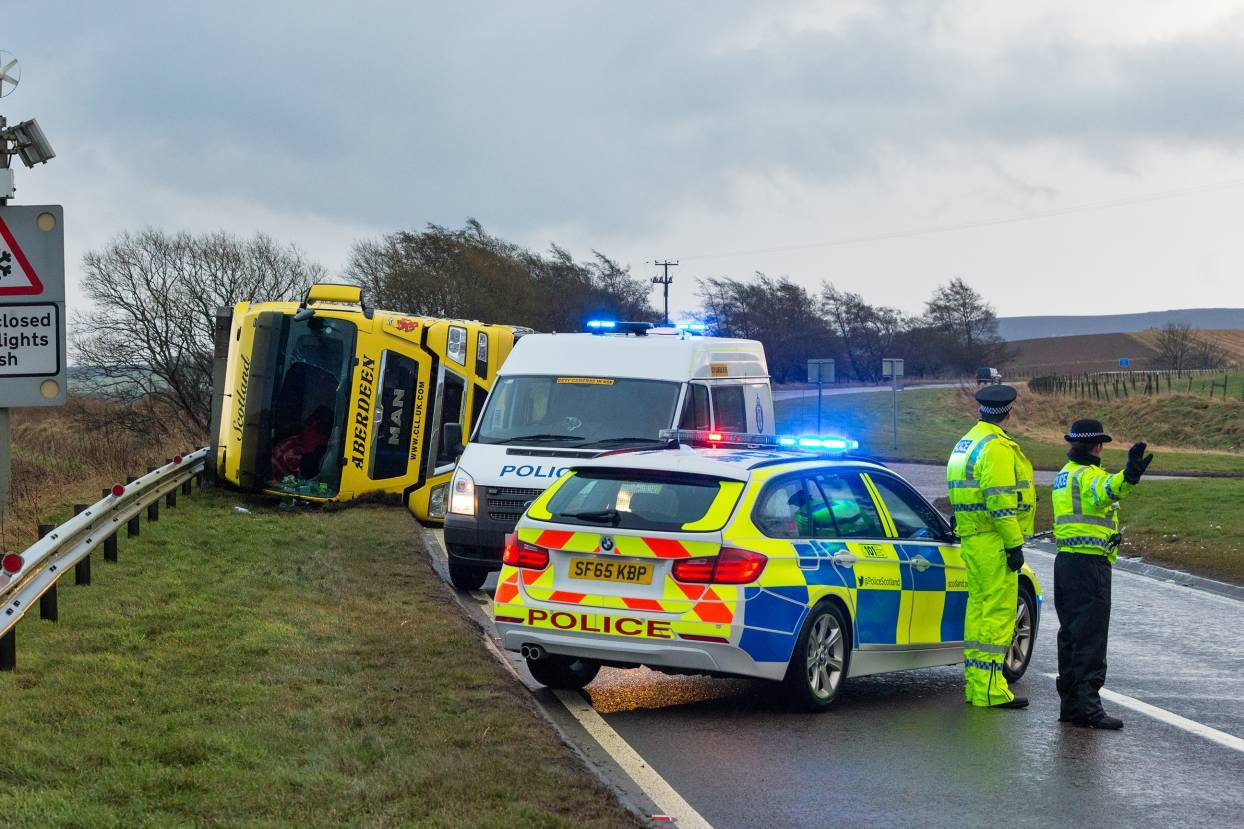 The lorry overturned on A96 just south of Huntly