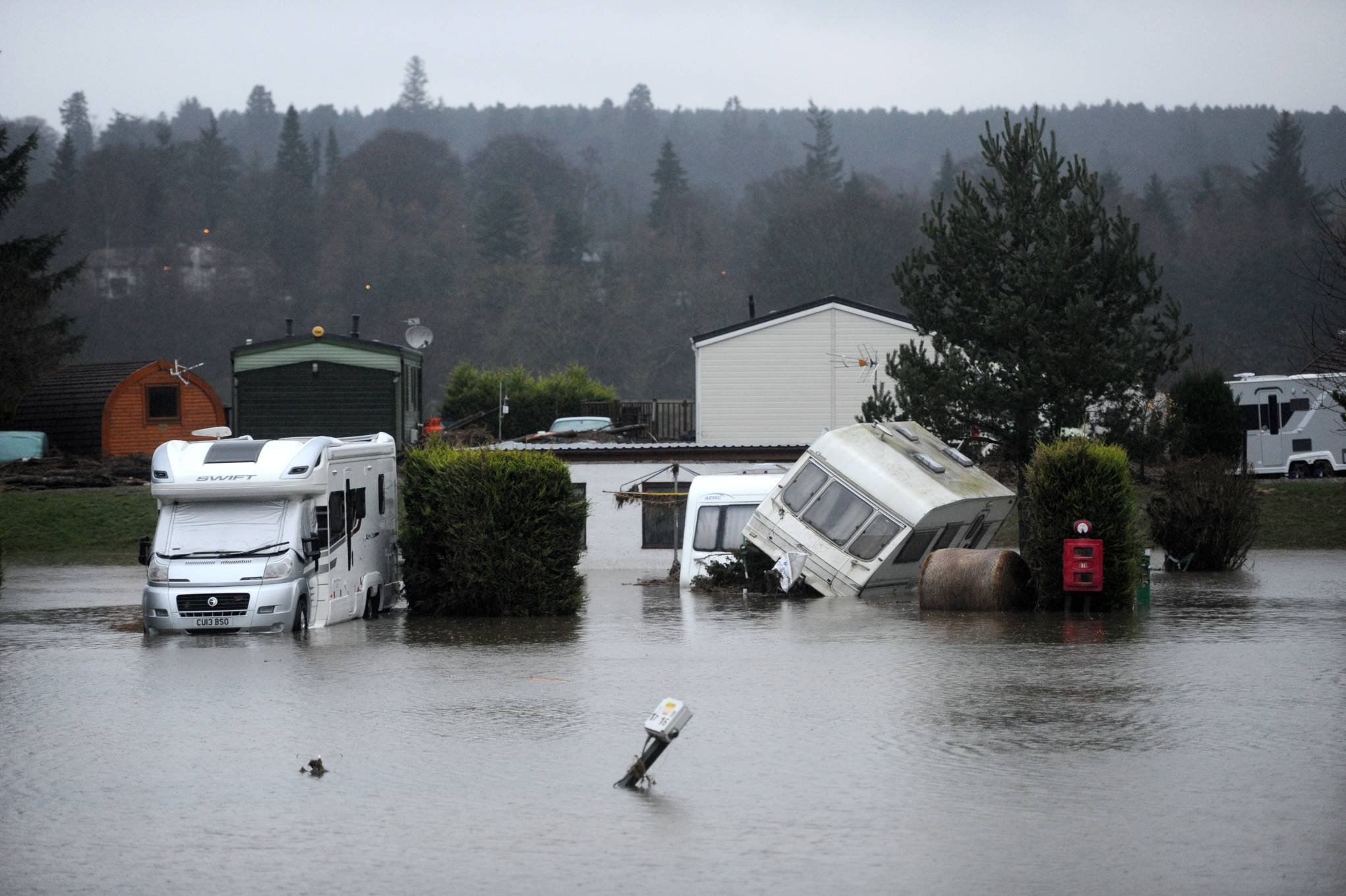 Deeside Holiday Park in Maryculter could be flooded for the third time today.