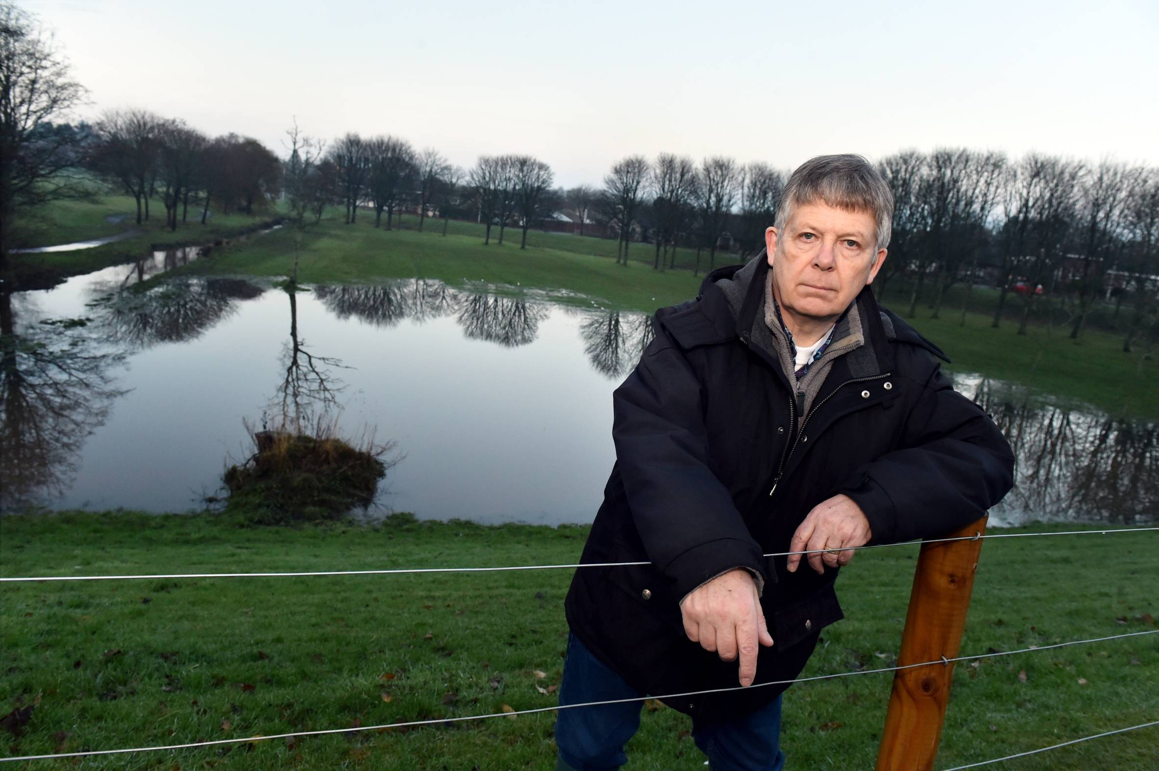 Craigiebuckler and Seafield Community Council's William Sell at the site of the flooding on King's Gate