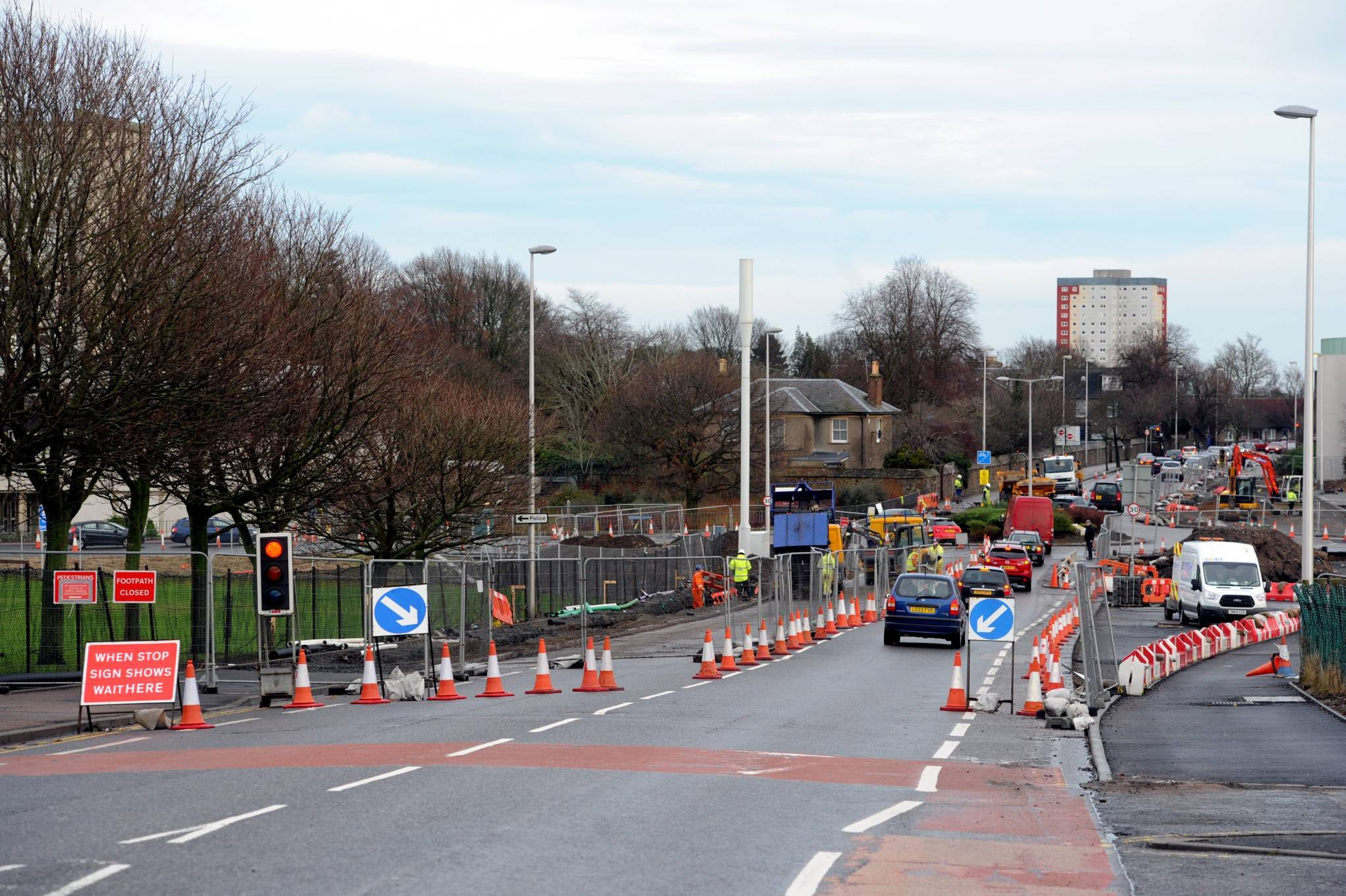 Pictured is the traffic on St Machar Drive as temporary traffic lights have been placed in the area.