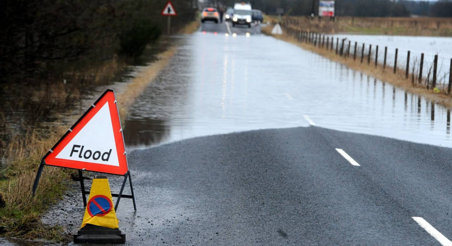 A section of the B999 between Pitmedden and Tarves is closed due to flooding
