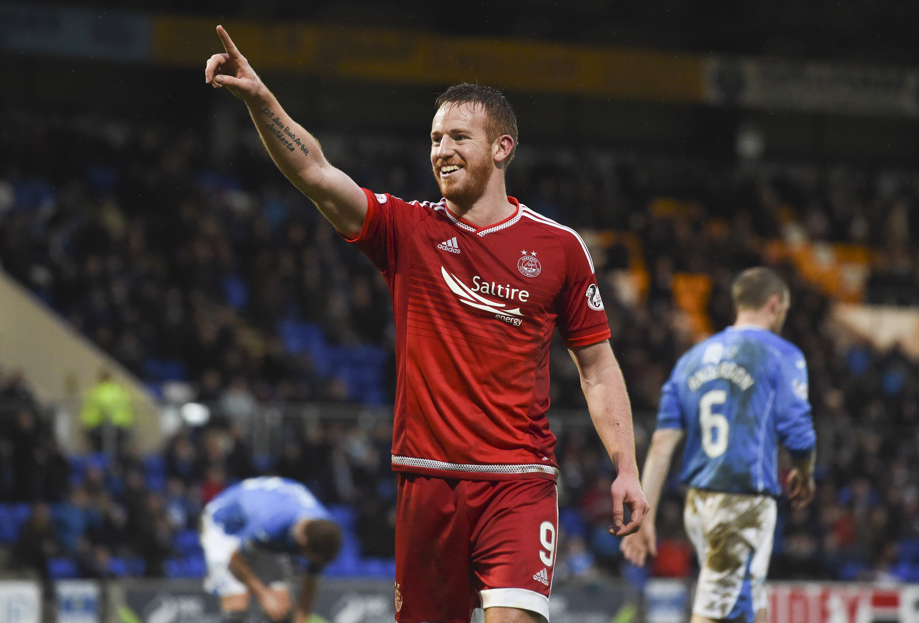 Aberdeen's Adam Rooney celebrates his second goal of the game