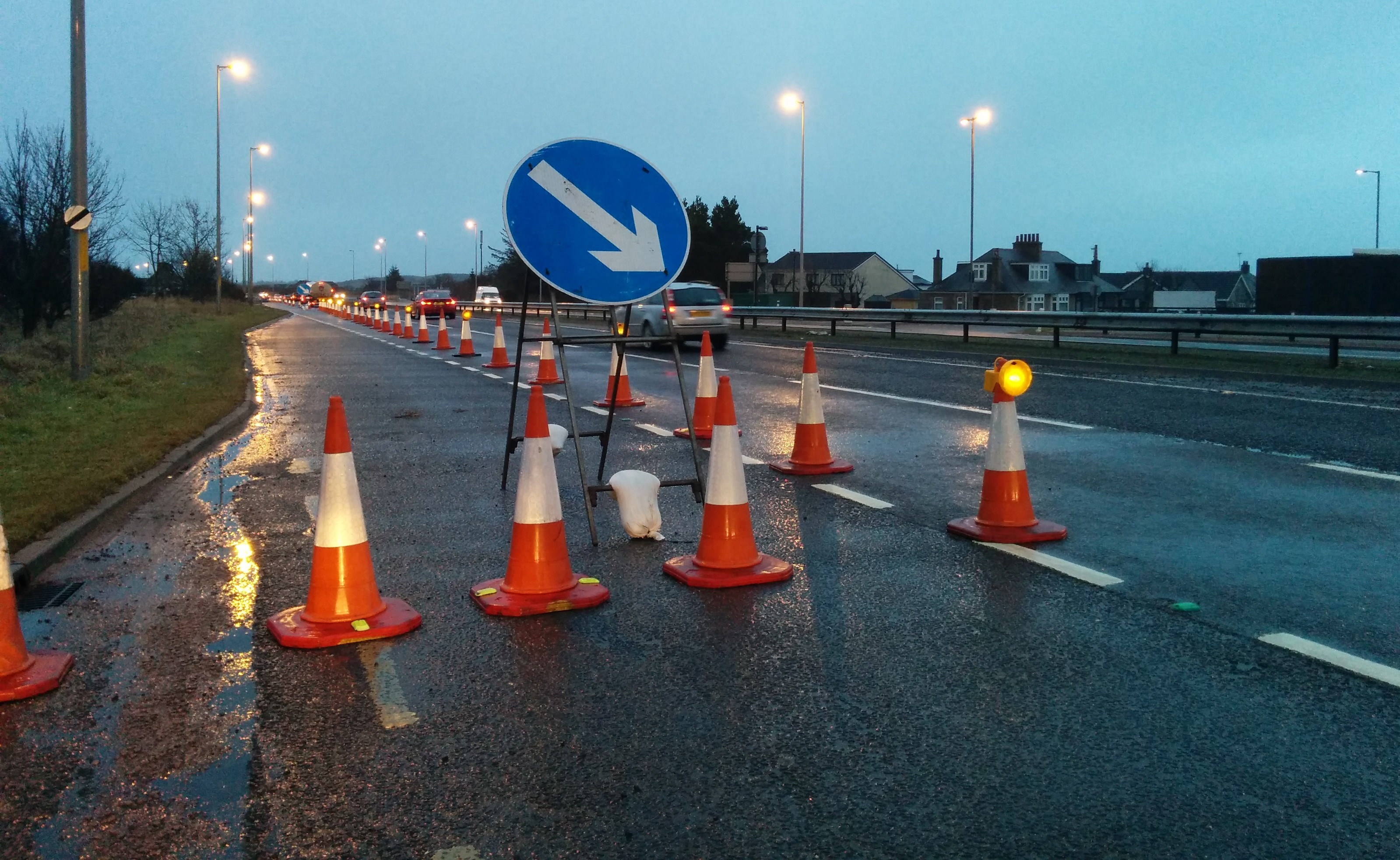 One lane was closed for the works