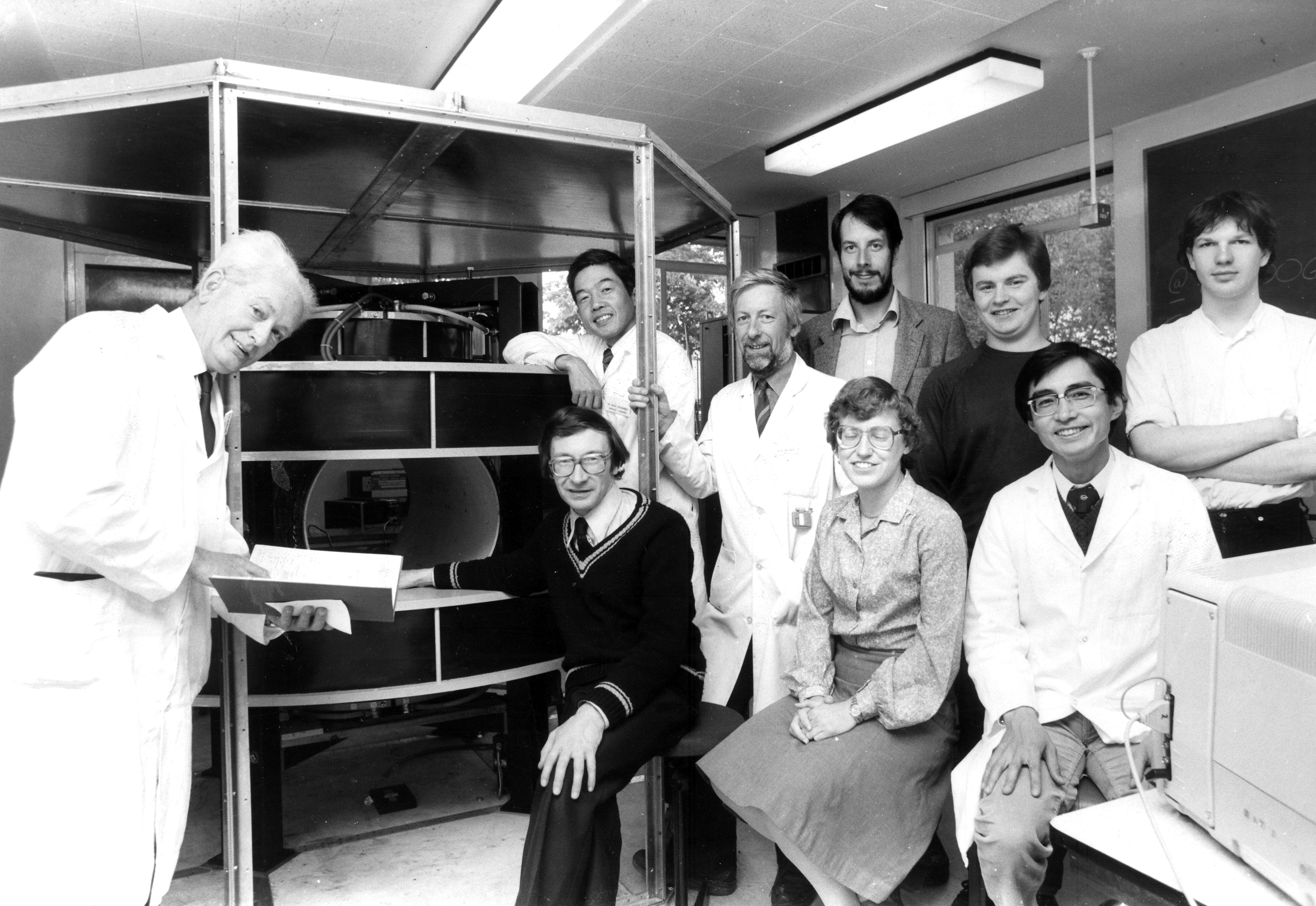Prof Mallard, left, and his team of medical physicists in 1982.