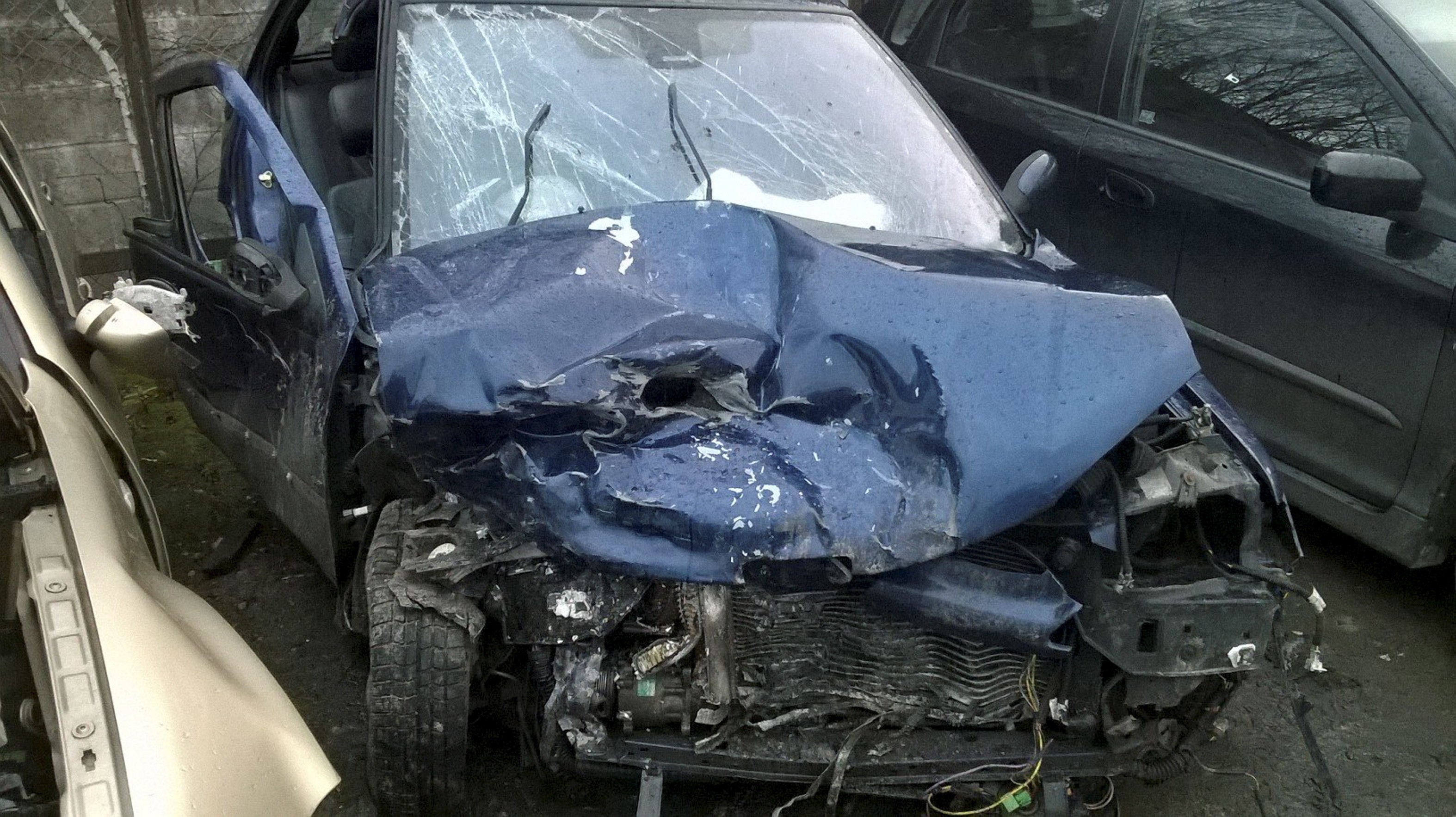 Margaret's car was severely damaged in the crash.