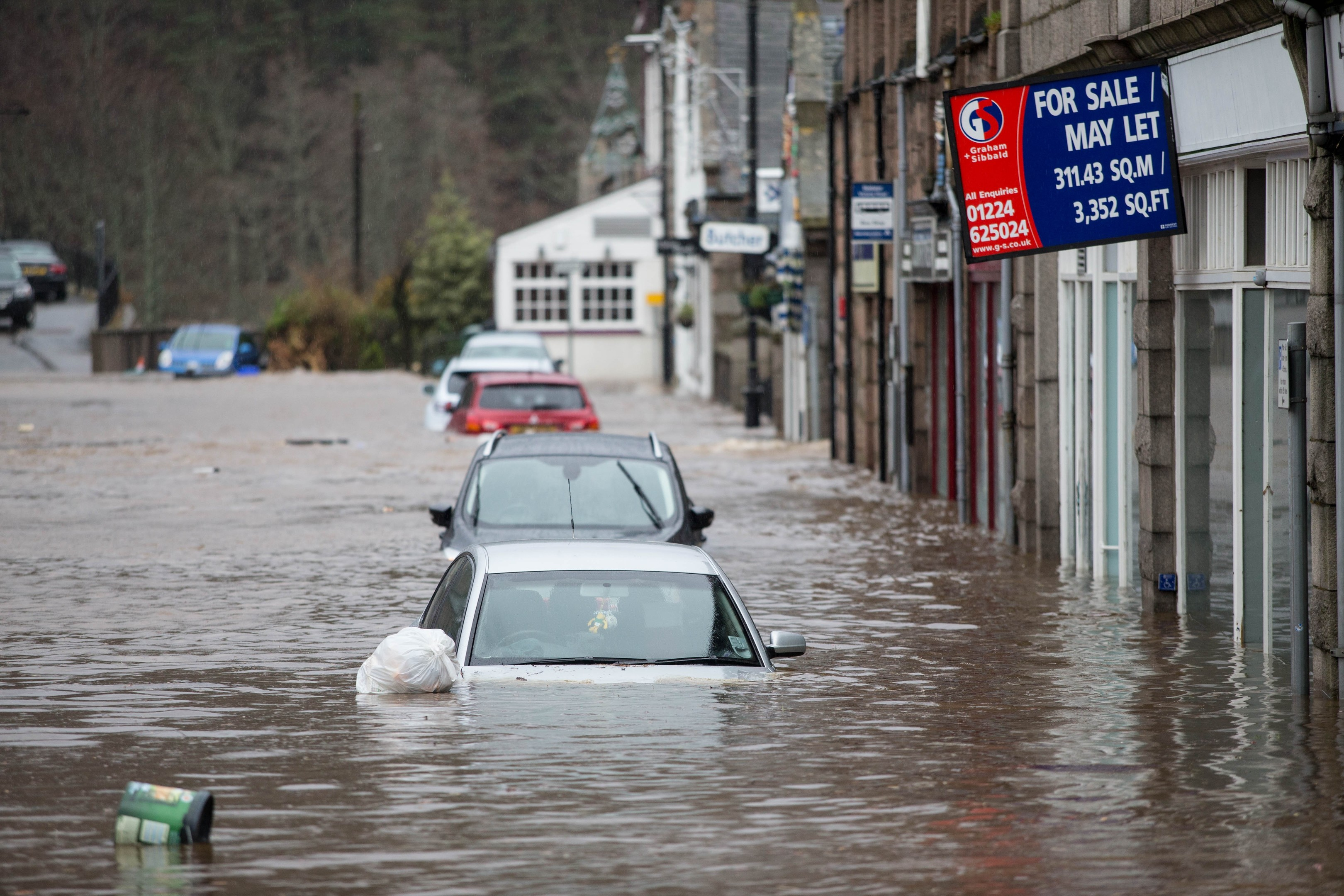 Ballater was badly affected by flooding after the River Dee burst its banks.