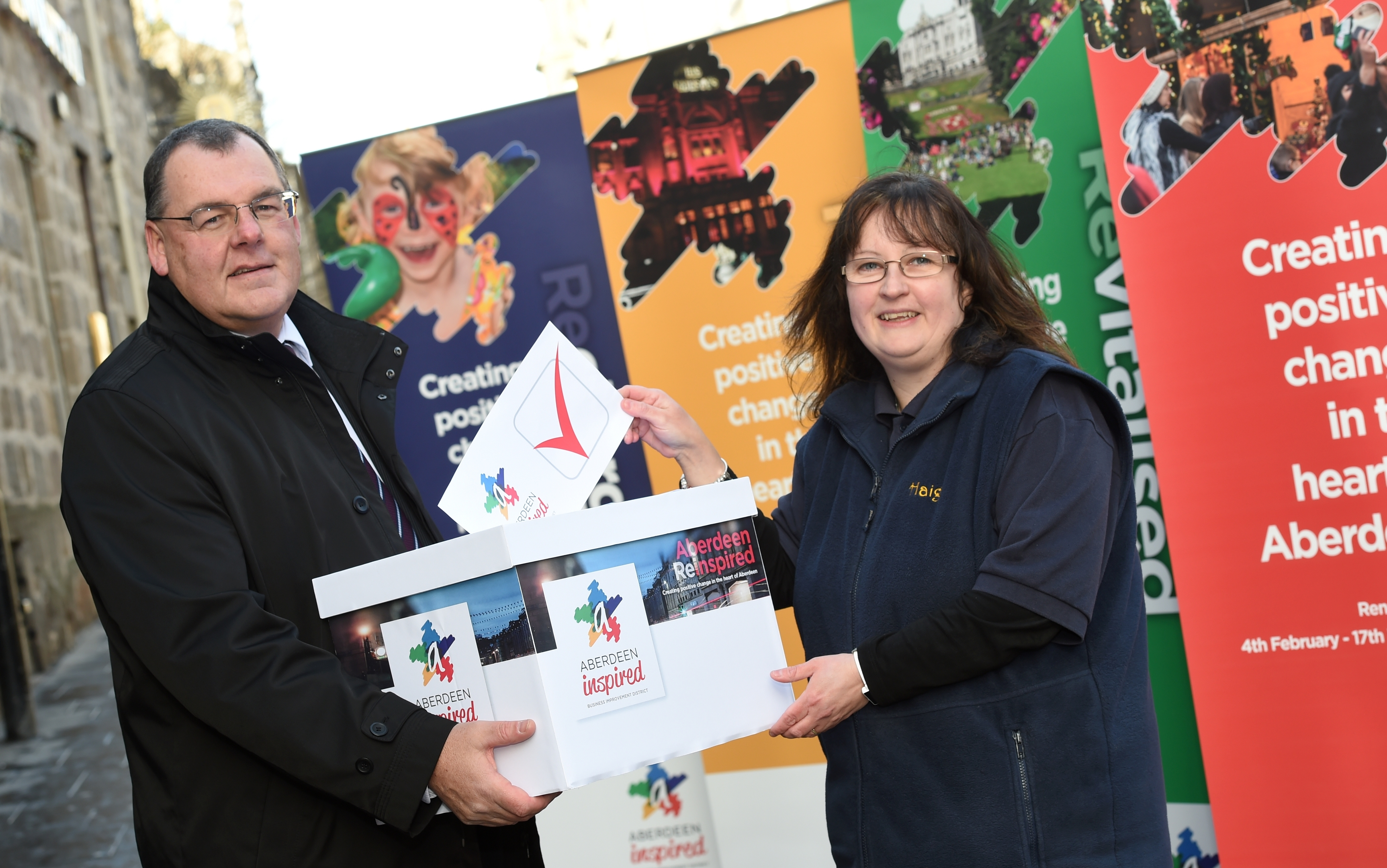 Gary Craig, Chief Executive of Aberdeen Inspired, with  Julie Haig, from Haig's Food Hall
