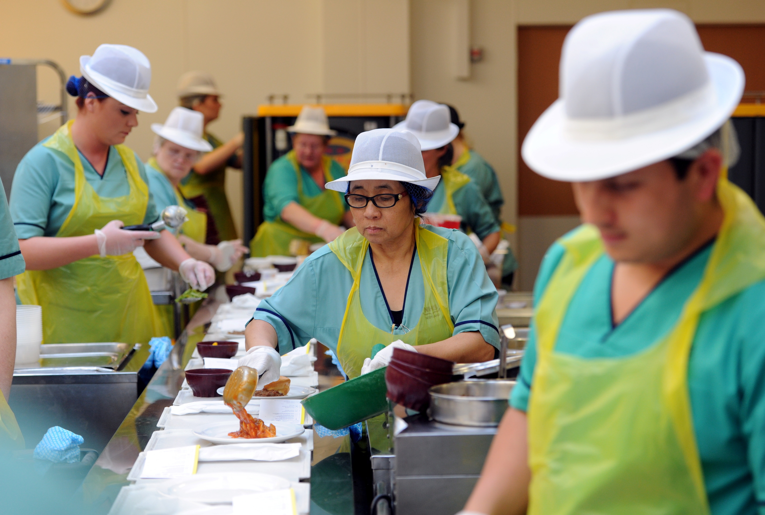 Staff working in the ARI catering department.