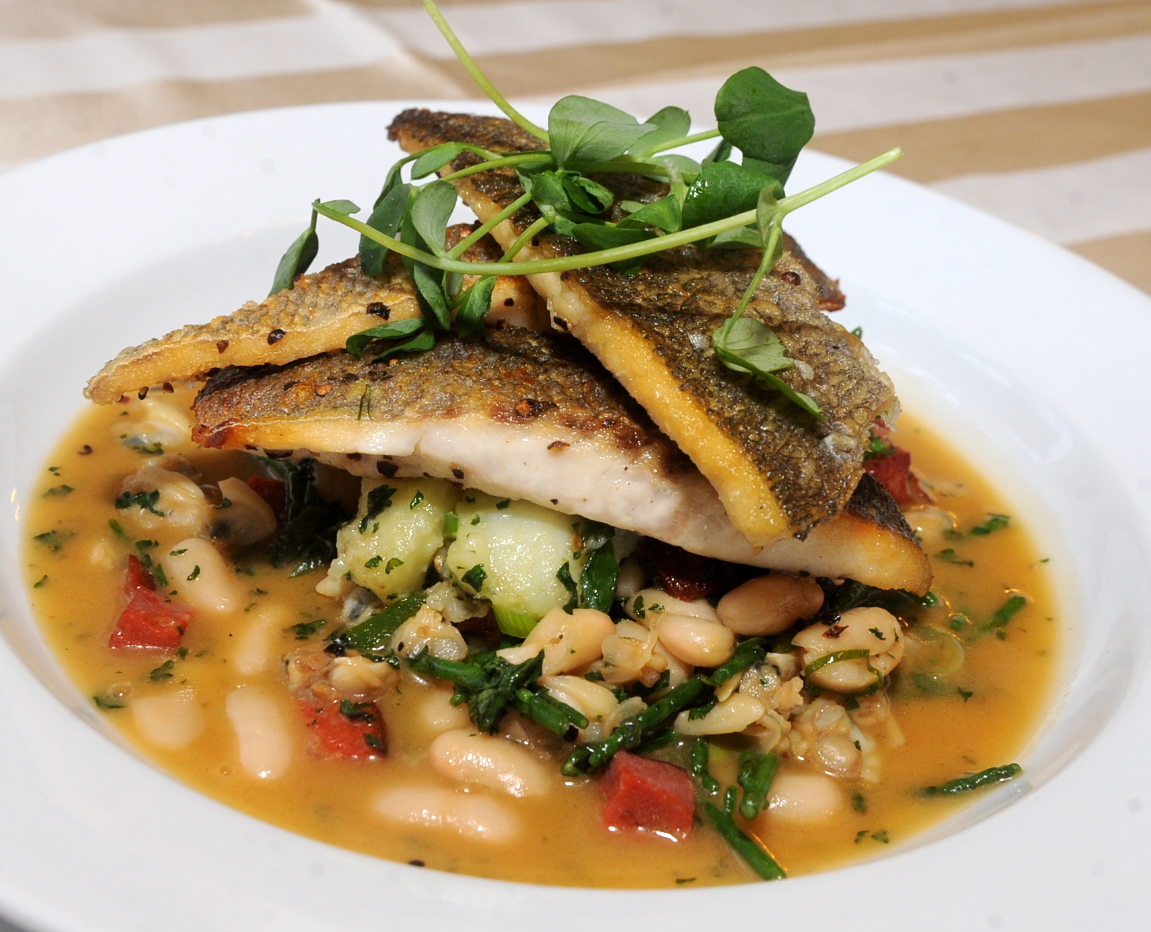 The pan fried seabass was a work of genius