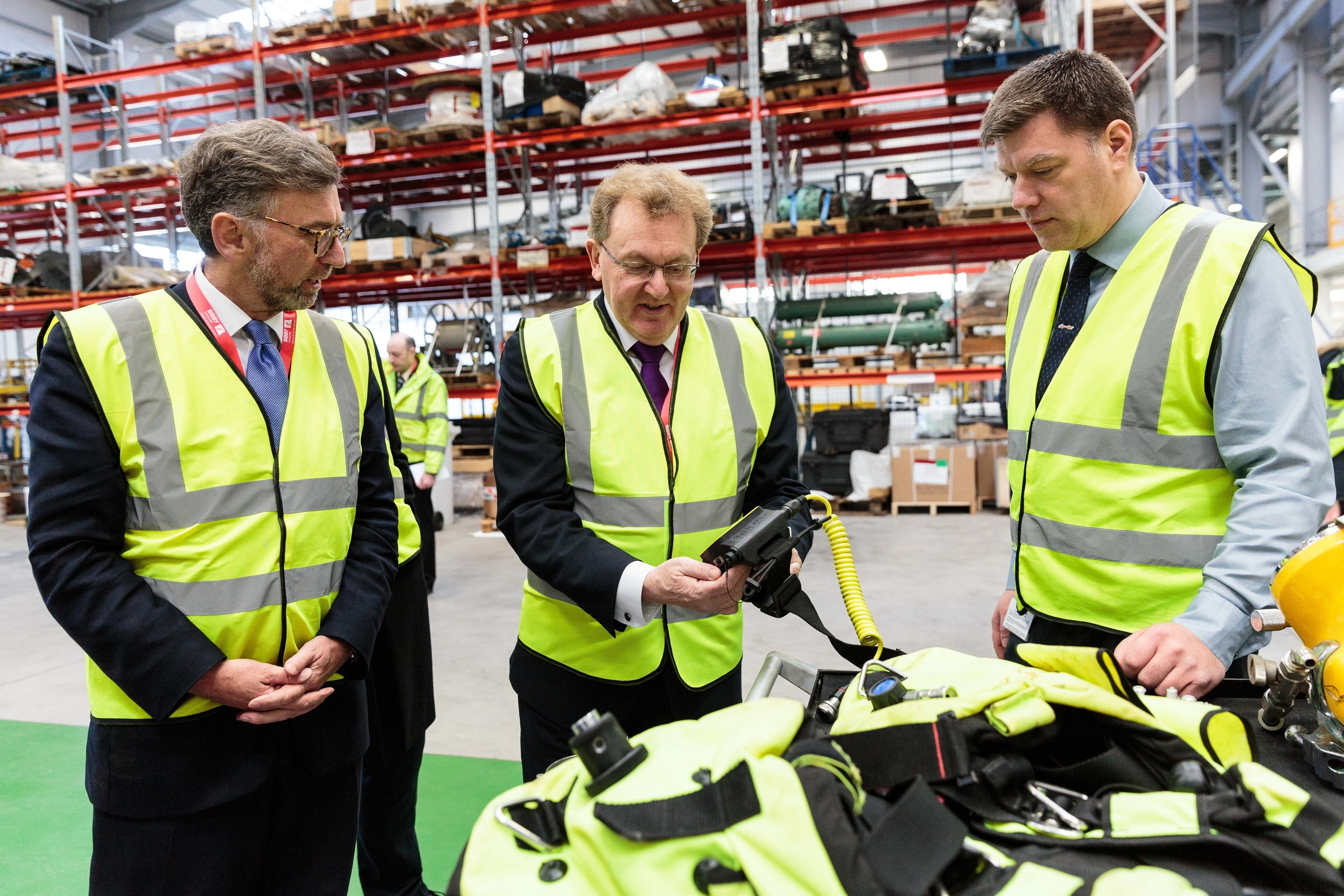 Scottish Secretary David Mundell, centre, and Scotland Office Minister Andrew Dunlop, left,  visiting Aberdeen as part of a drive to forge links with  Pemba, meet  Bibby Offshore chief executive  Howard Woodcock.