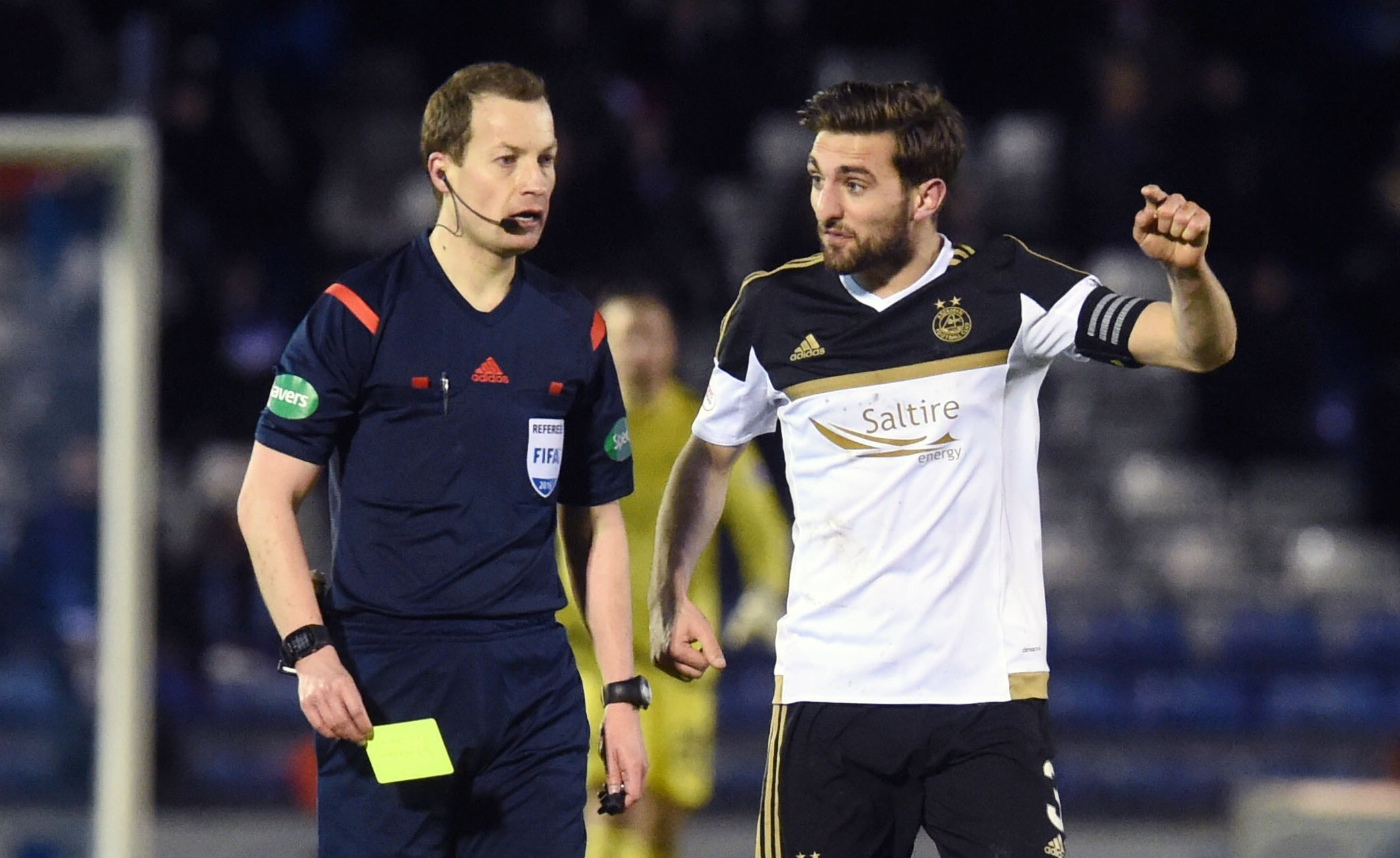 Aberdeen's Graeme Shinnie  appeals to referee Willie Collum