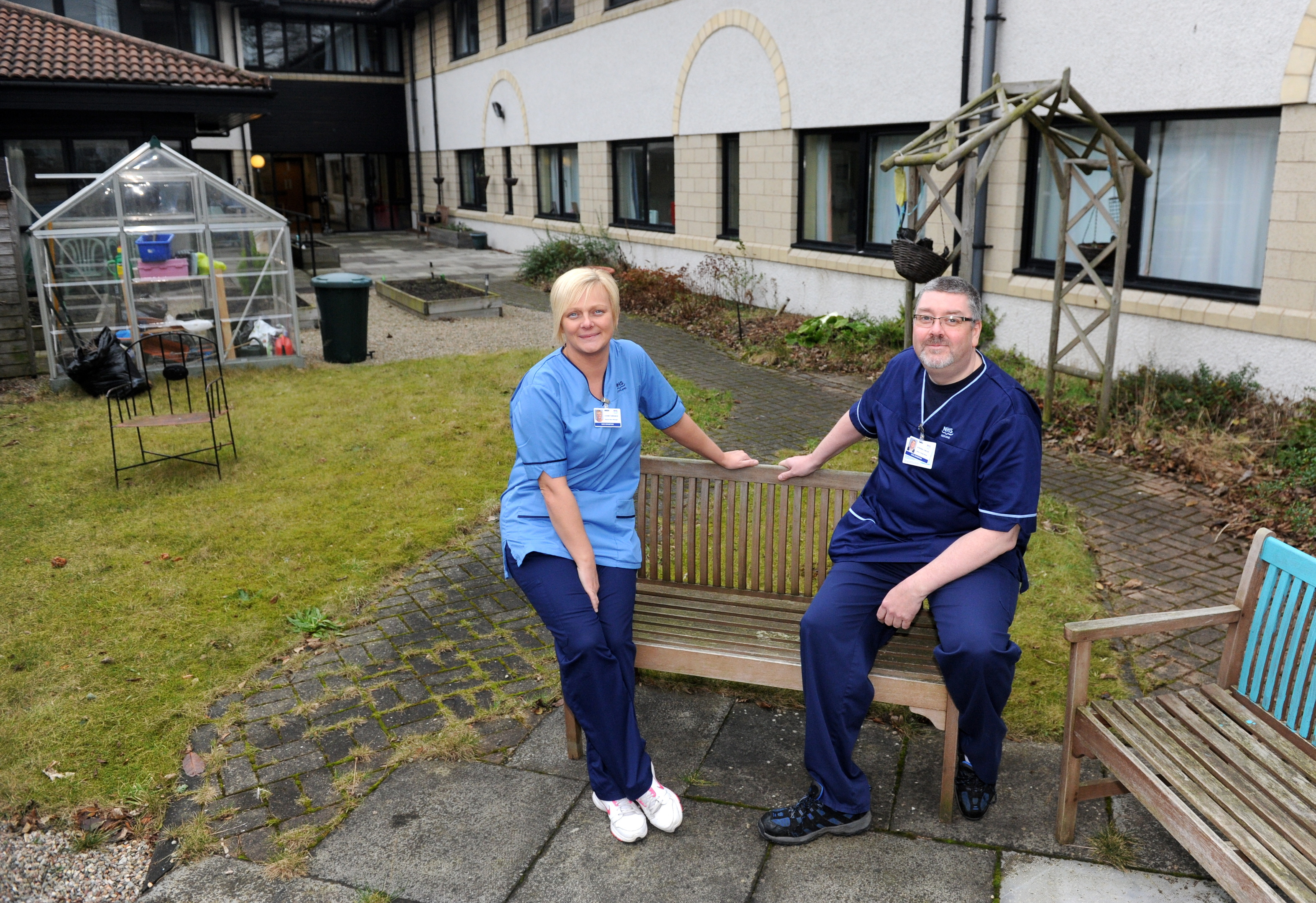 Deputy ward manager Louise Torrance and senior charge nurse Stephen Conlon hope a car can be found for the grounds of Cornhill Hospital.