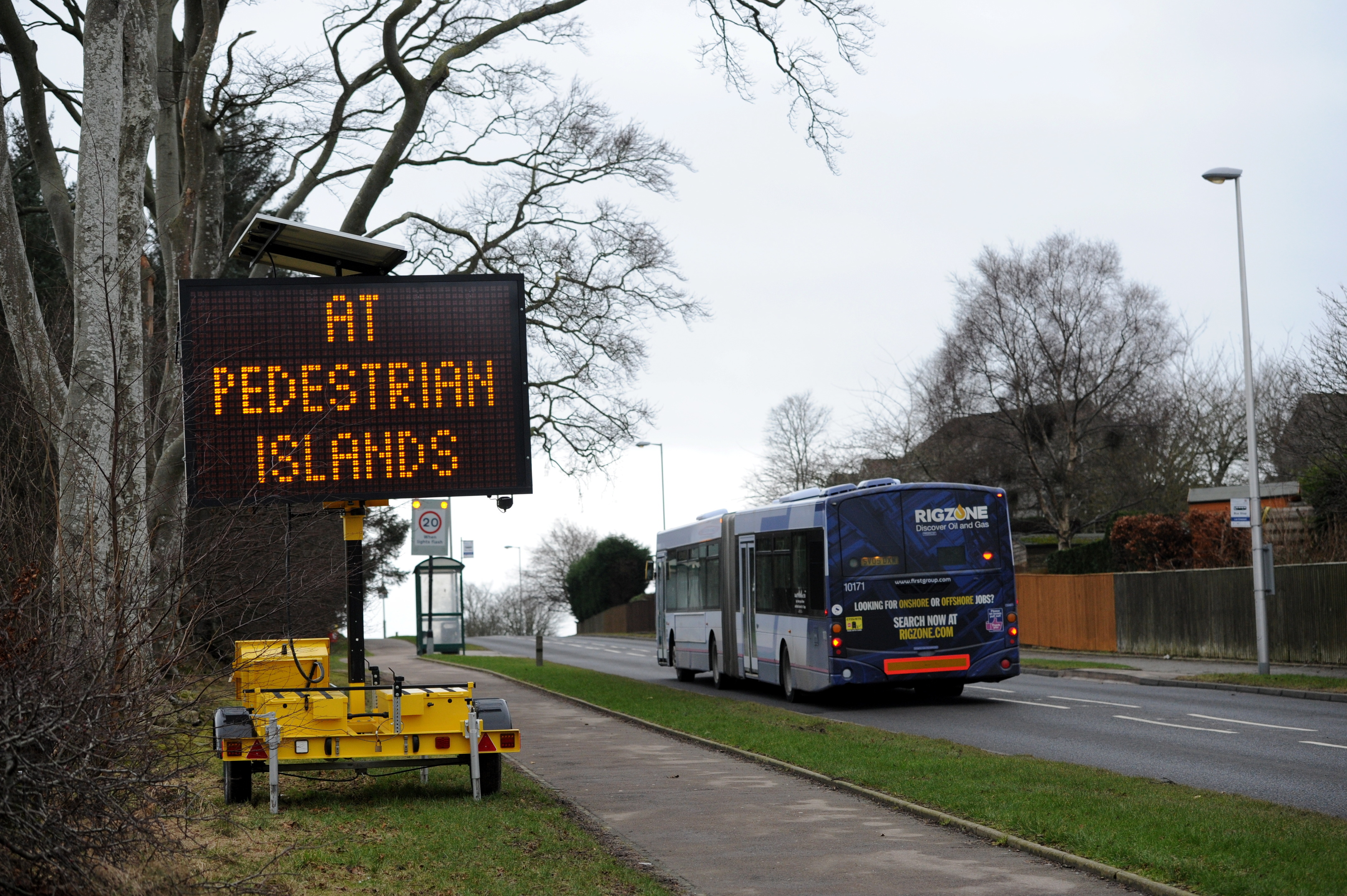 The new electronic signs on Jesmond Drive, Bridge of Don, warning drivers not to overtake dangerously.