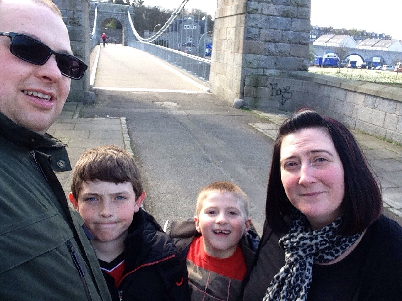 Enjoying a family day out and posing for a photo in front of Wellington Bridge, Aberdeen, from left, David, Callum, Robbie and Caroline.