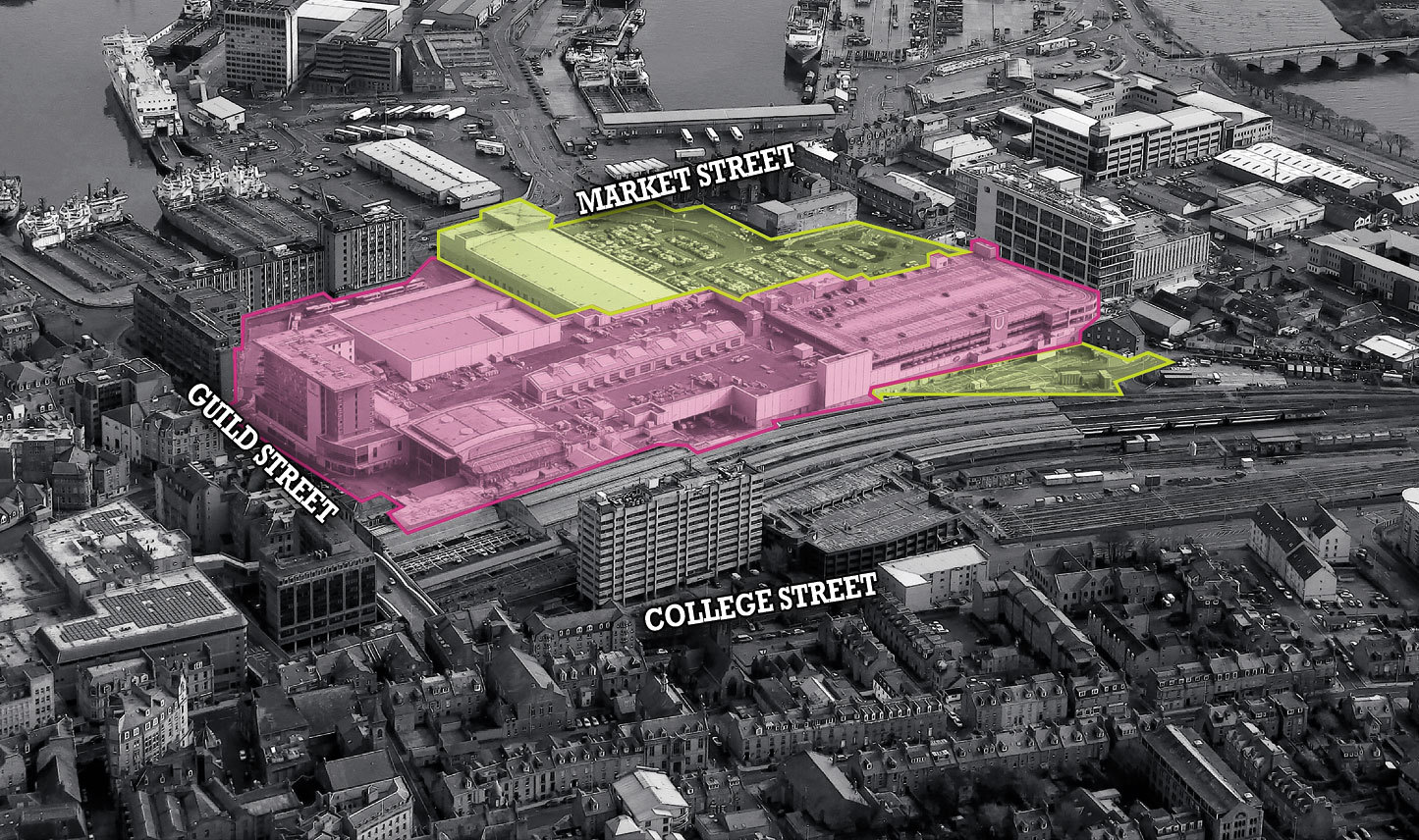 An indicative drawing of the areas which the existing Union Square would expand into