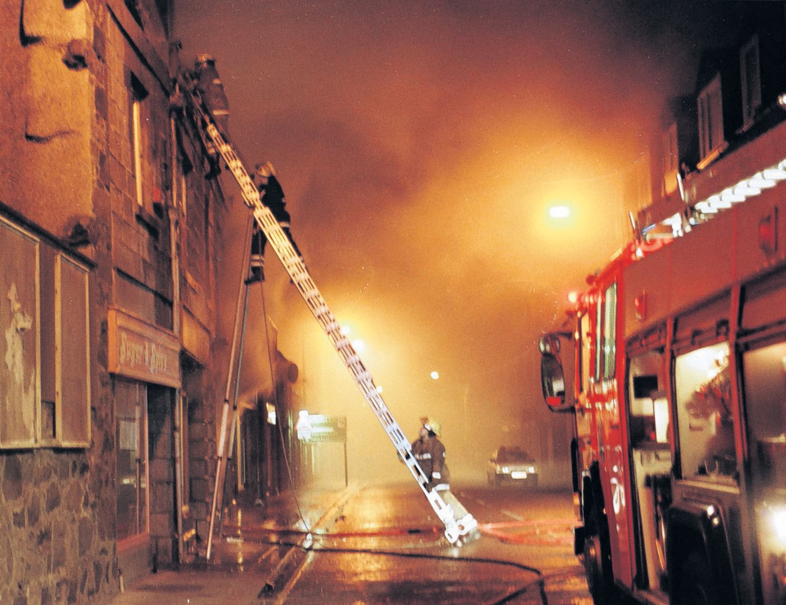 Firefighters at the scene of the fatal fire in Fraserburgh in 1998