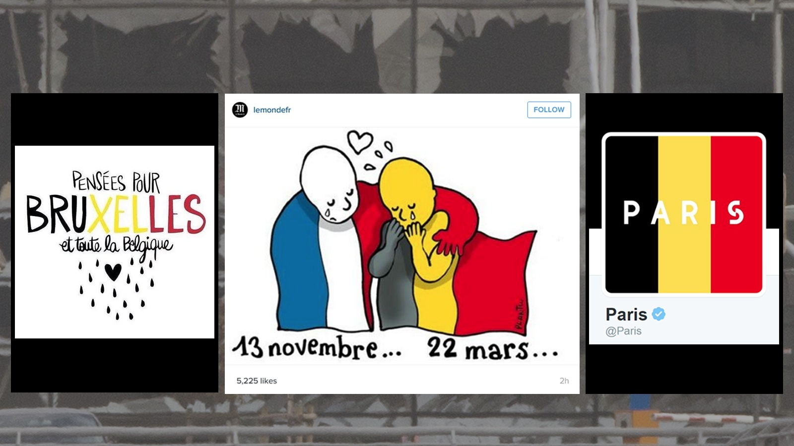 Composite of some of the images being shared on social media to support Belgium
