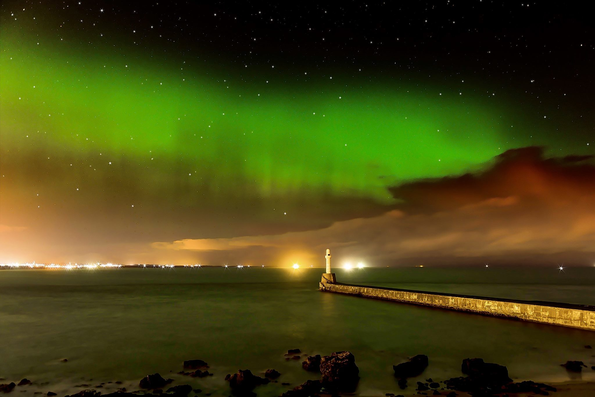 Magical mothers day Northern lights over Aberdeen. Picture by Lenny Watson/Aberdeen in Colour.