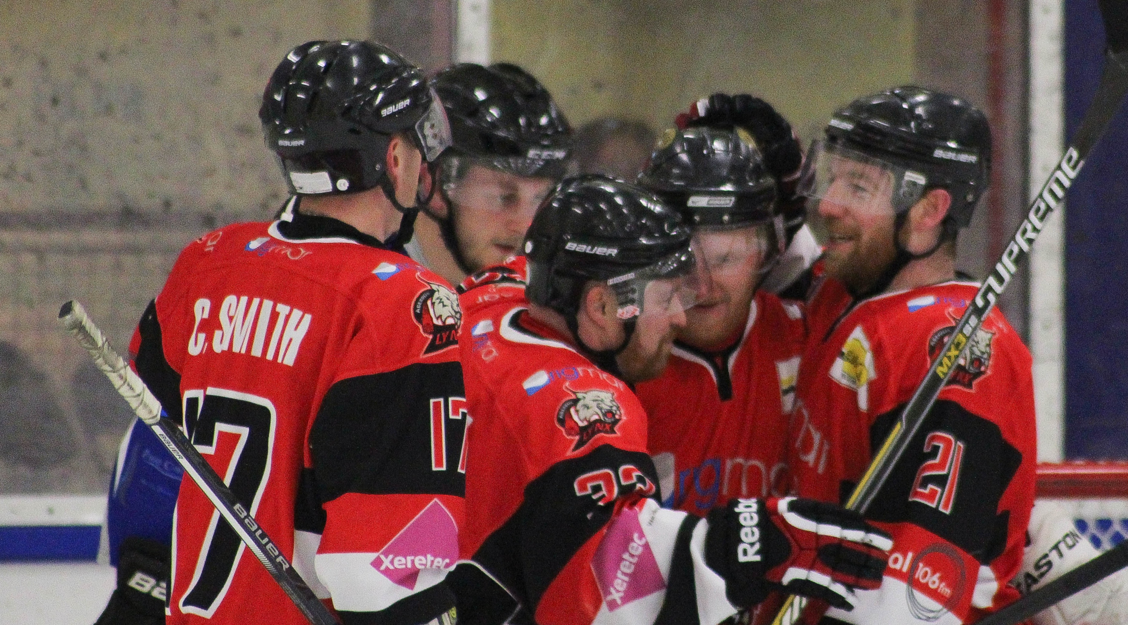 Aberdeen Lynx players, from left, Callum Smith, Kevin Turnbull, Mark Laing and Owen Reynolds celebrate. Pictures by L C Photography.