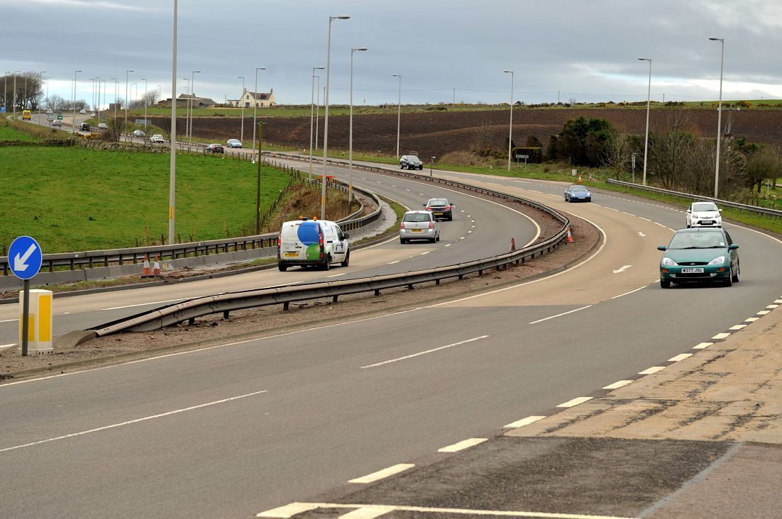 A crane is blocking a section of the A90 at Muchalls