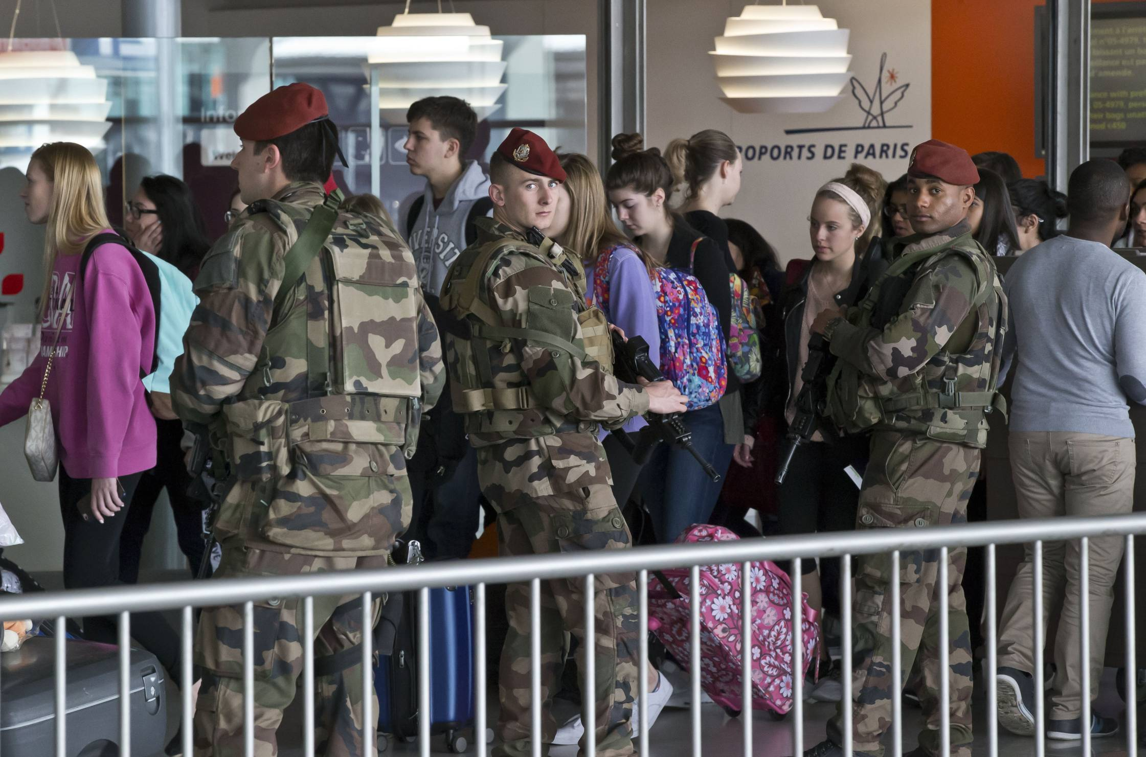 French soldiers patrol at Charles de Gaulle airport, in Roissy, north of Paris.