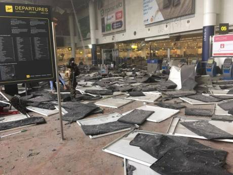 The aftermath of this morning's explosions at Brussels airport. Picture by Jef Versele/Facebook