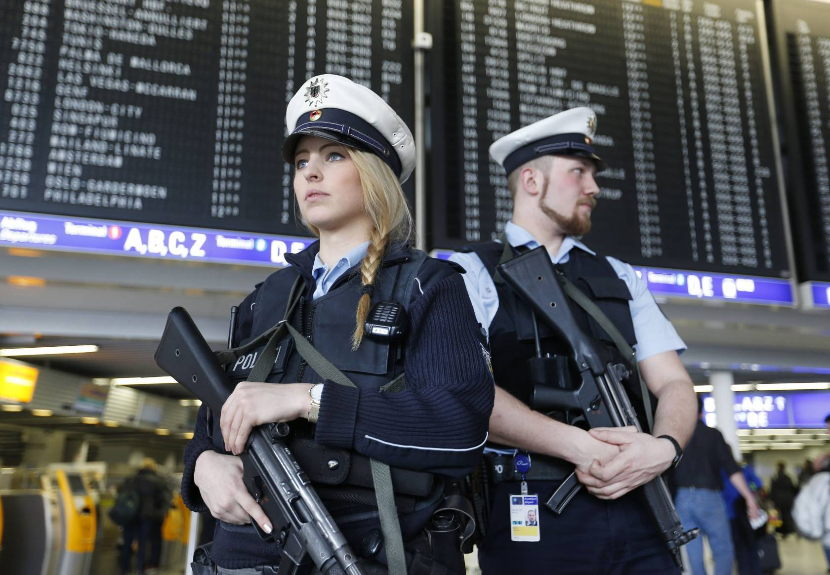 German police officers guard  a terminal of the airportthe  in Frankfurt, Germany.