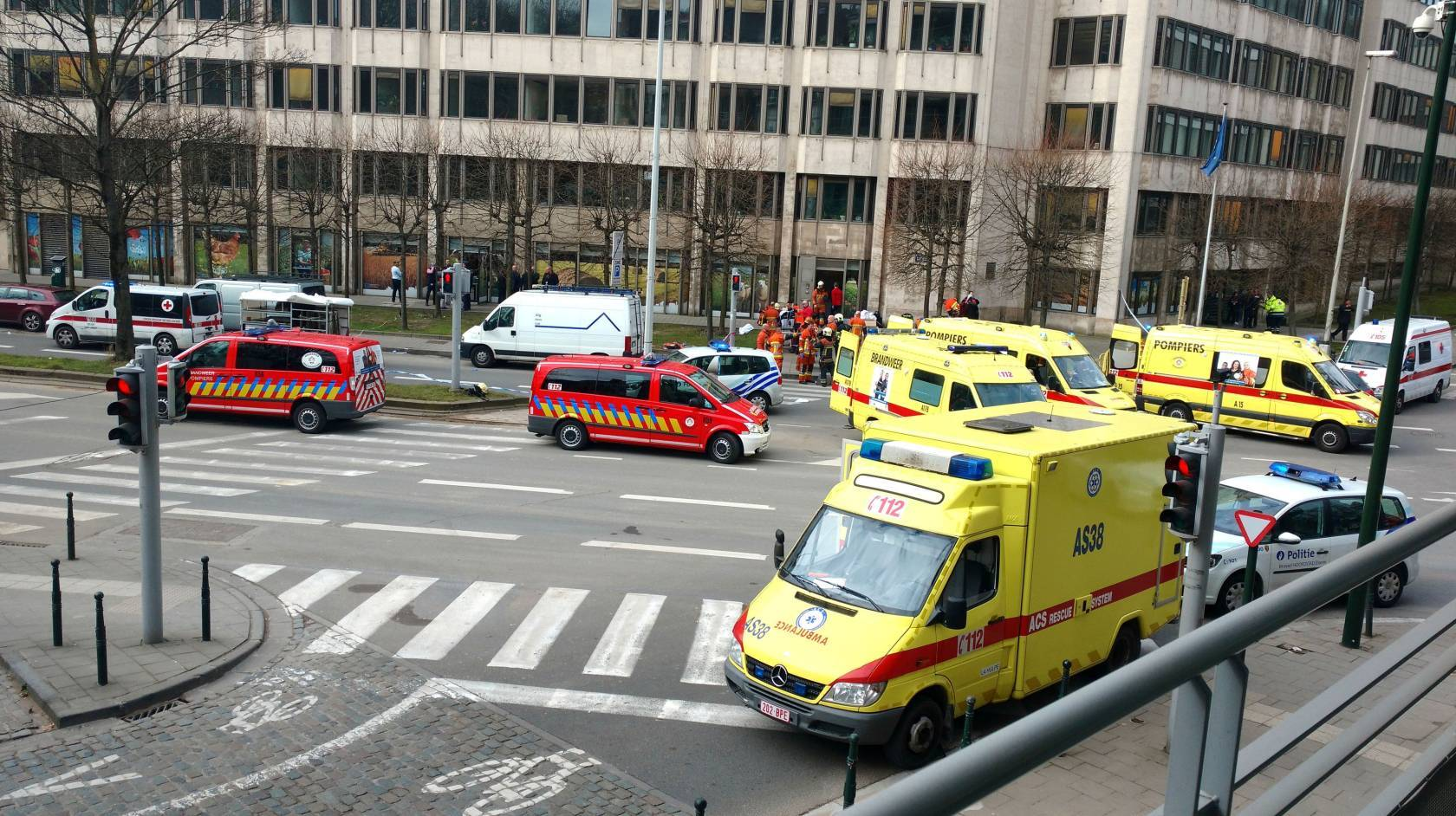 Emergency services after a explosion in a main metro station in Brussels.
