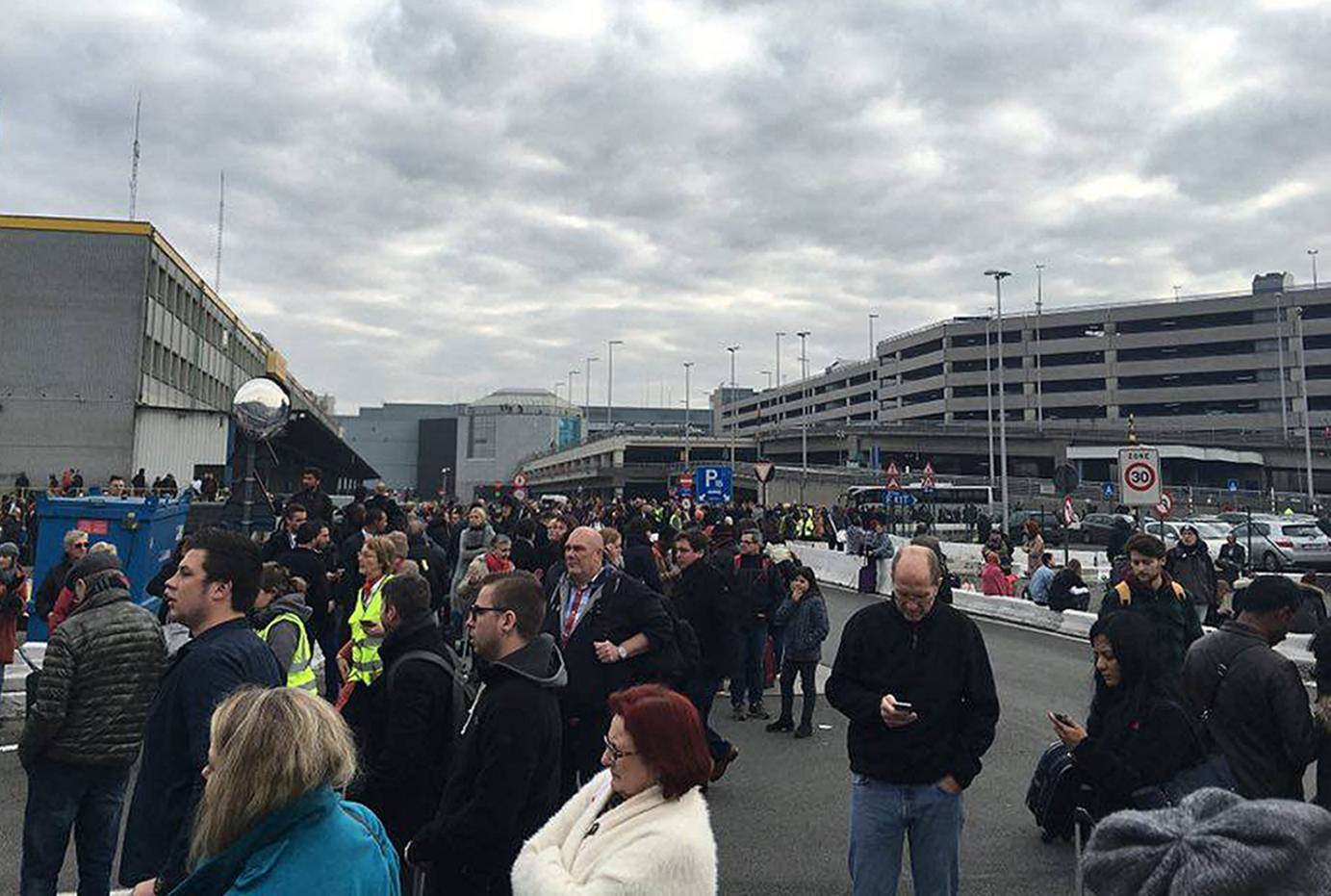 The scene at Brussels Airport after two explosions were heard. Picture by Bart van Meele/Facebook.