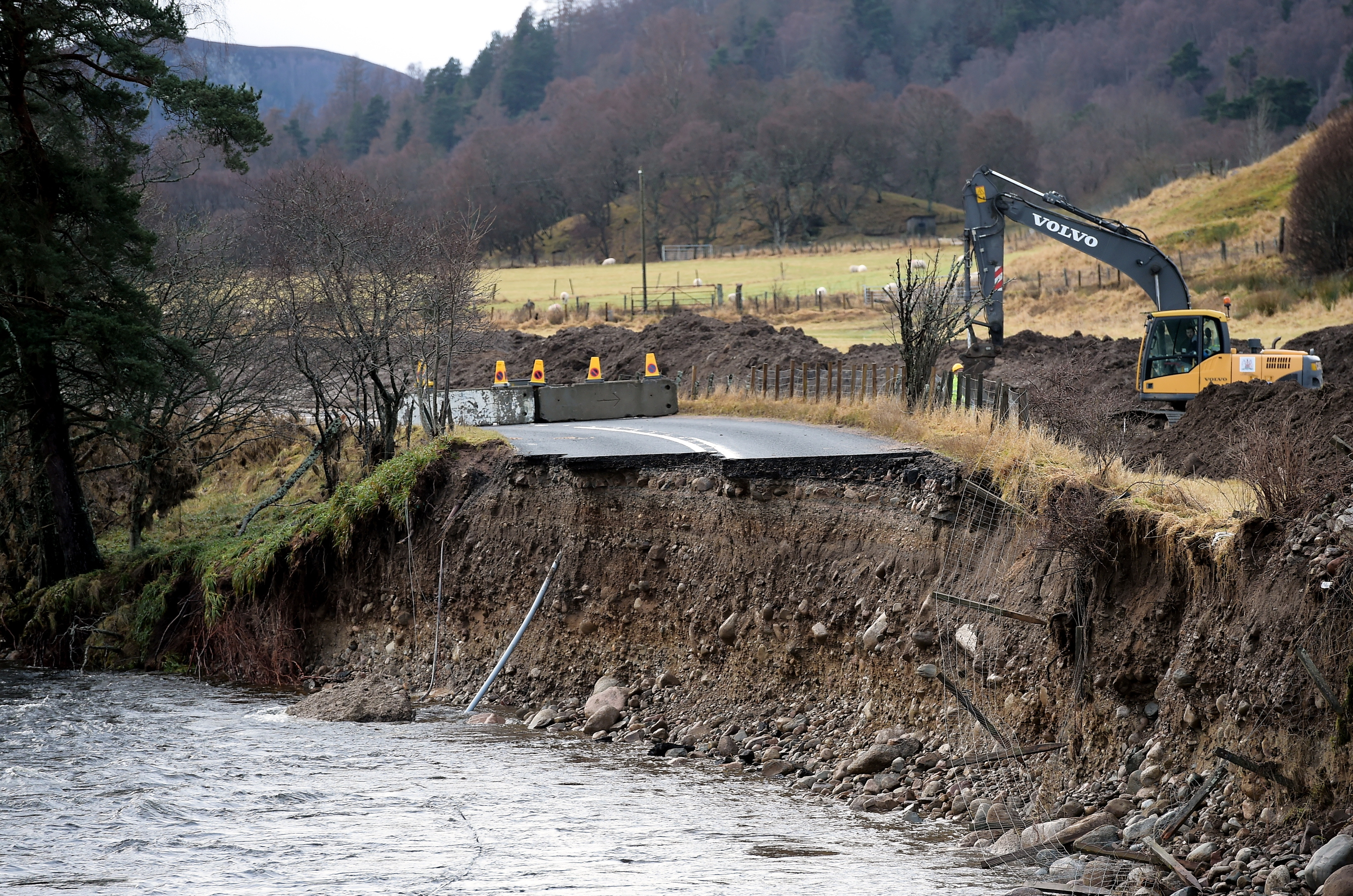 The washed away section of the A93.