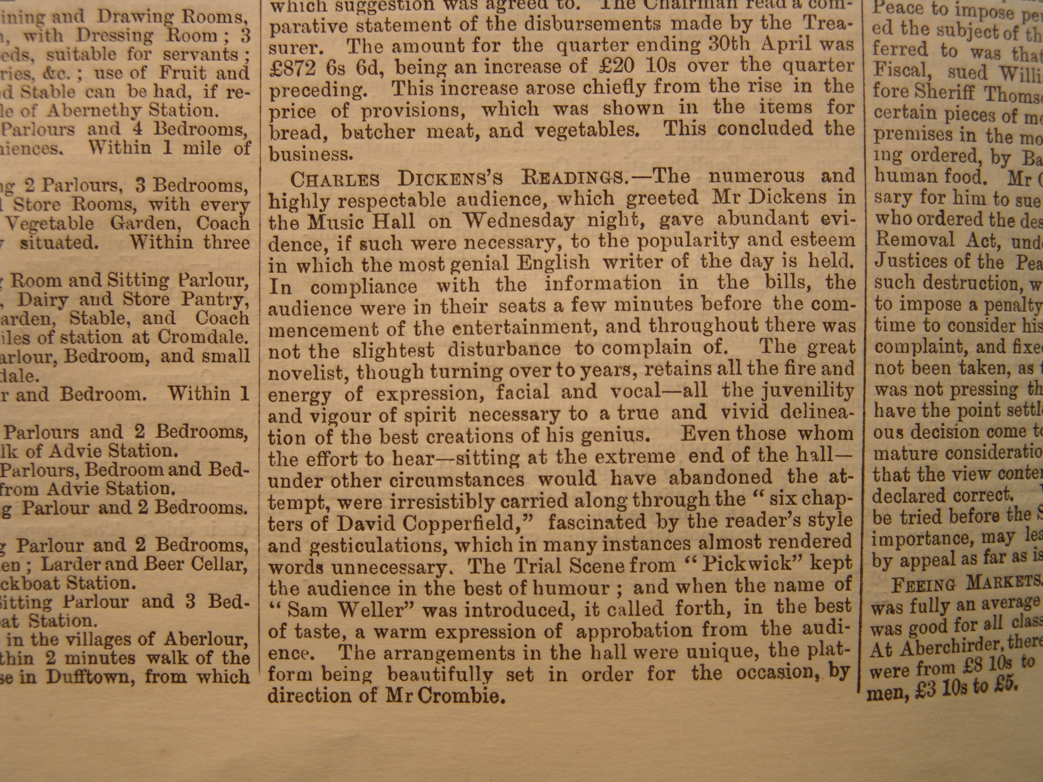 A review by the Aberdeen Journals in 1866 when Charles DIckens last visited the city.