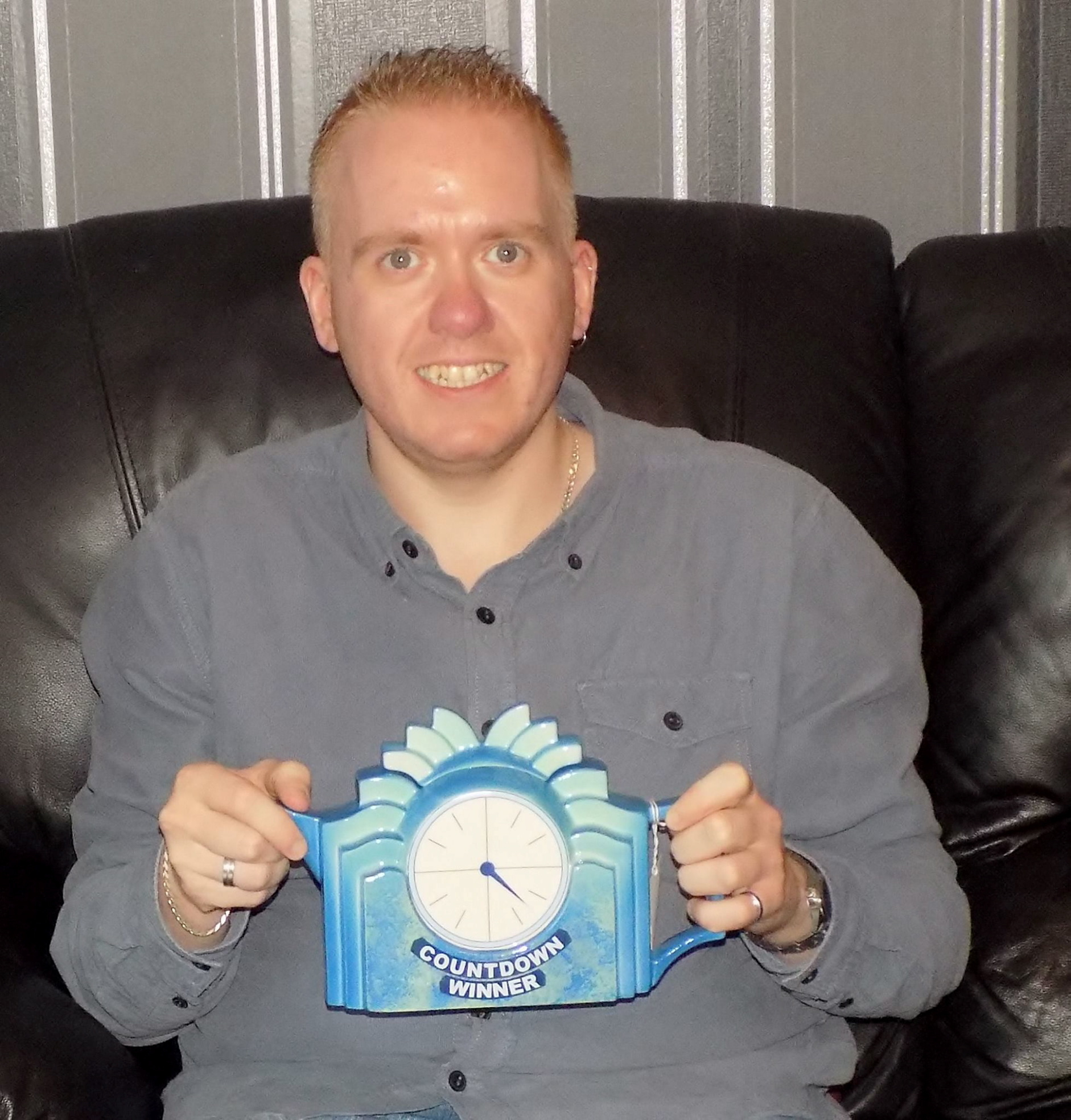Paul Craib with his coveted Countdown teapot.