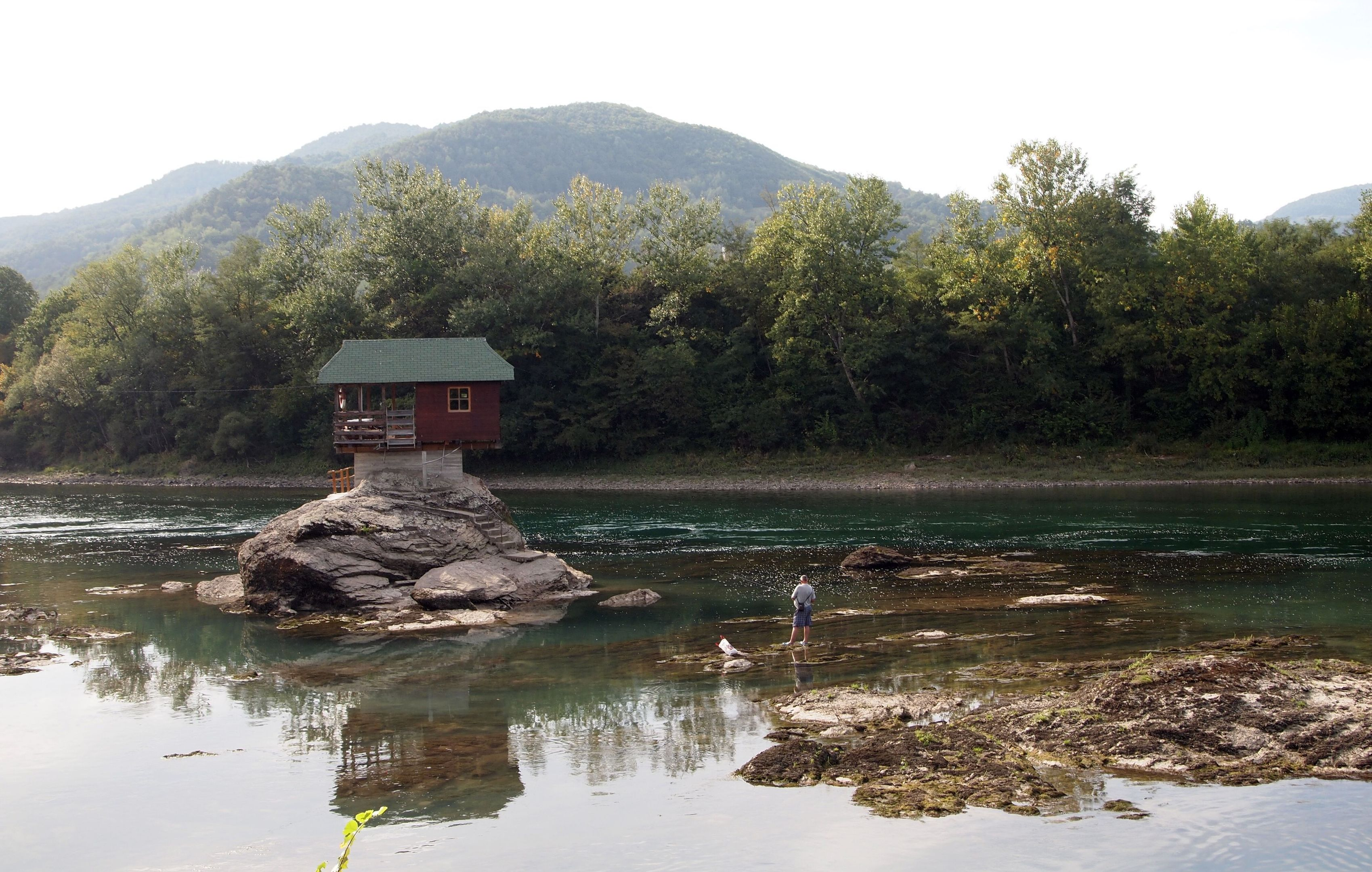 A house on stilts on the River Drina in Serbia.