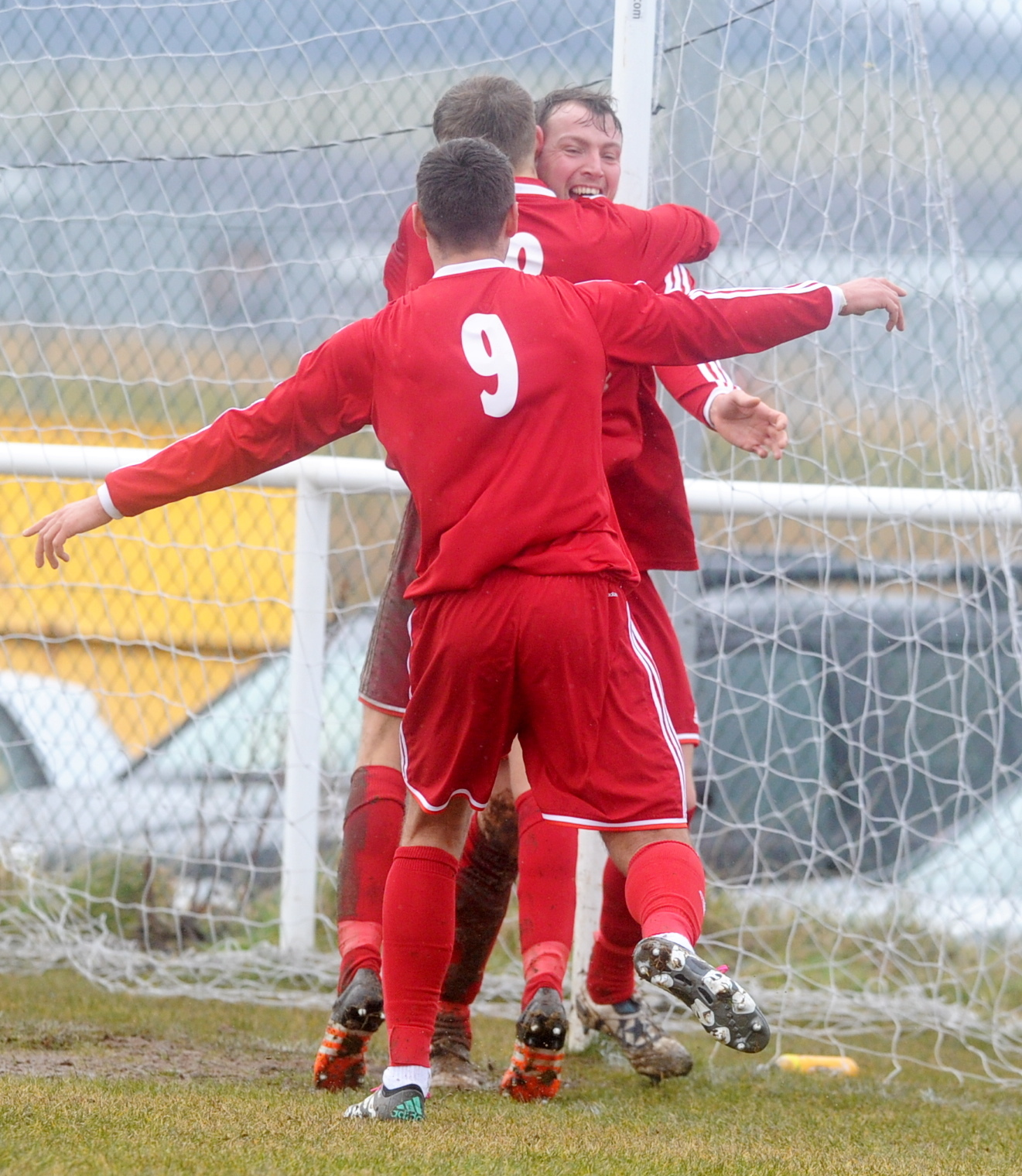 FC Stoneywood's Liam Bain is congratulated after scoring his side's first goal.